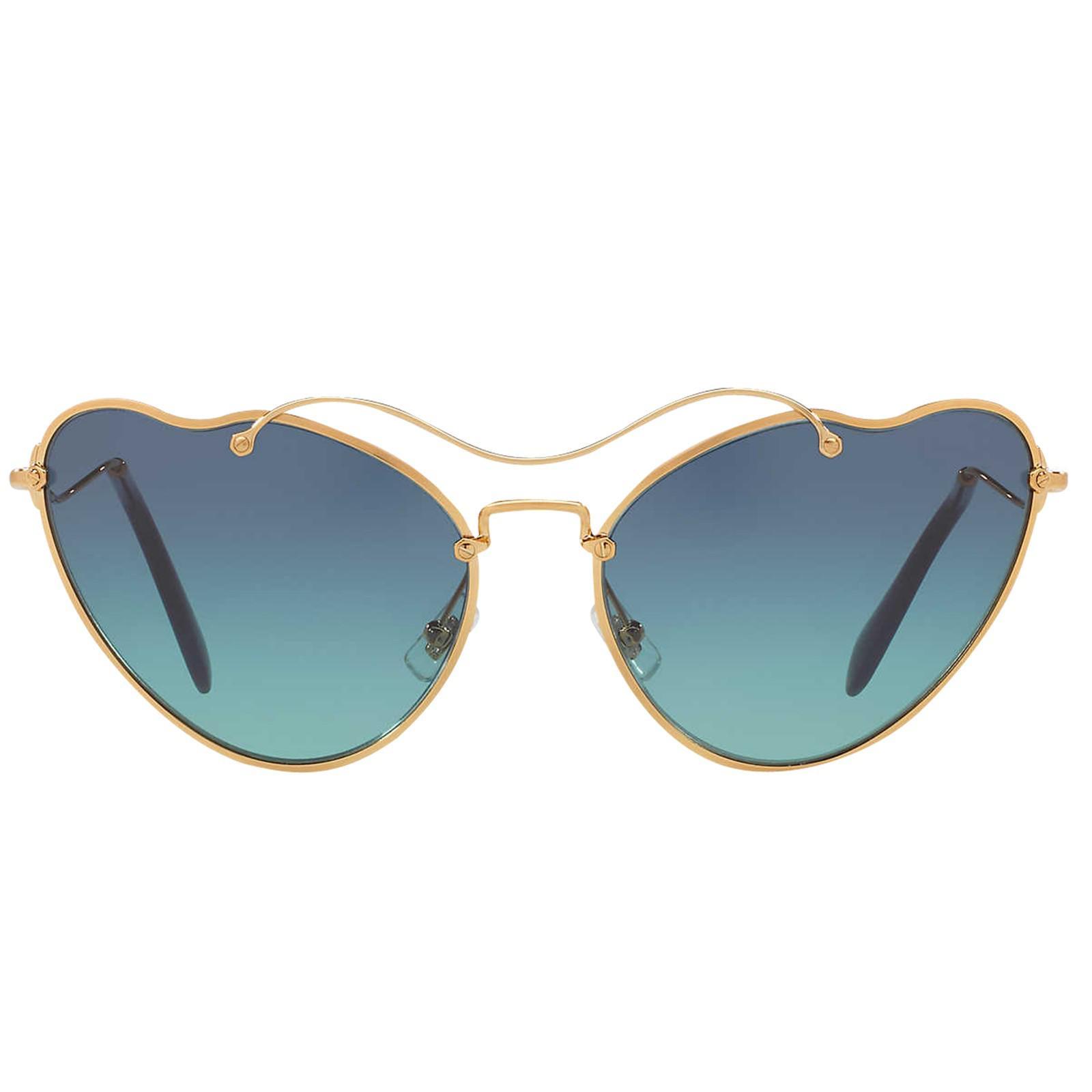 ac951ffc00 Miu Miu Mu 55rs Asymmetric Cat s Eye Sunglasses in Metallic - Lyst