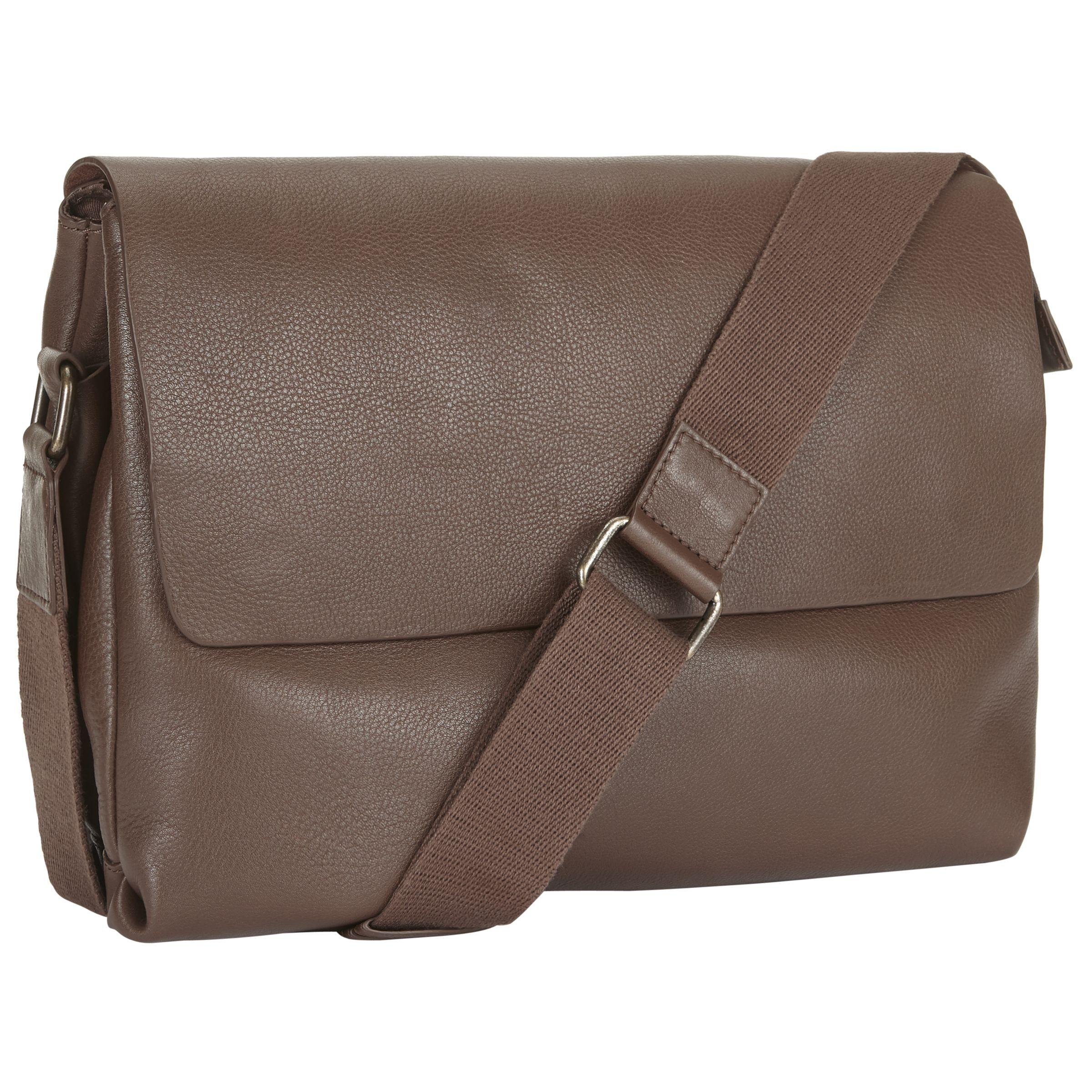 John Lewis Brown Boston Leather Messenger For Men Lyst View Fullscreen