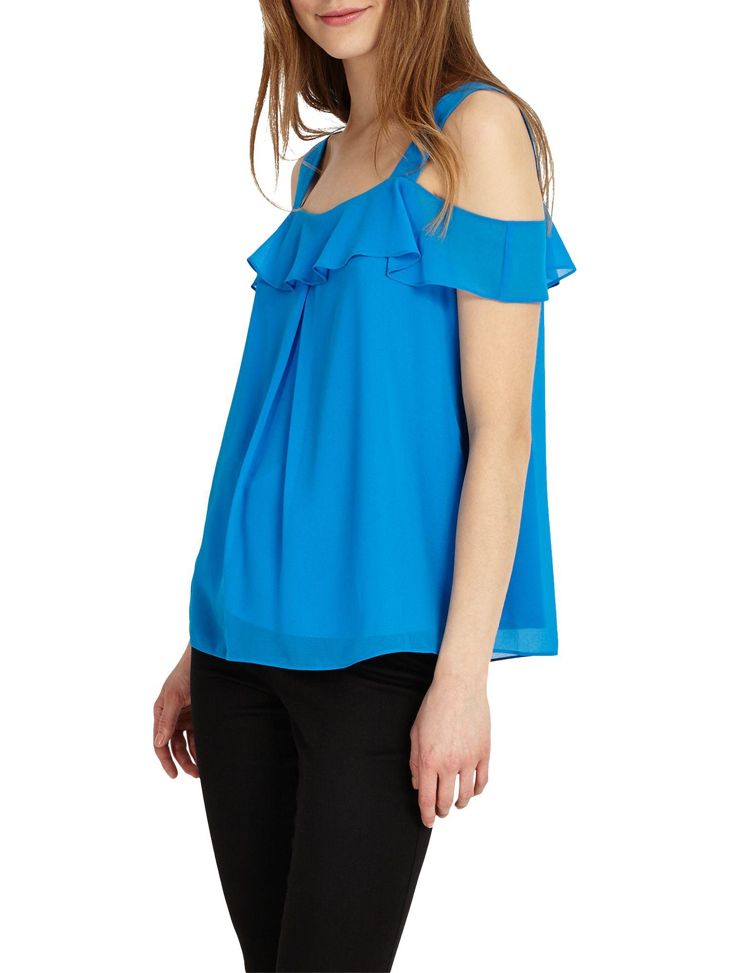 Phase Eight Synthetic Robyn Cold Shoulder Blouse in Blue