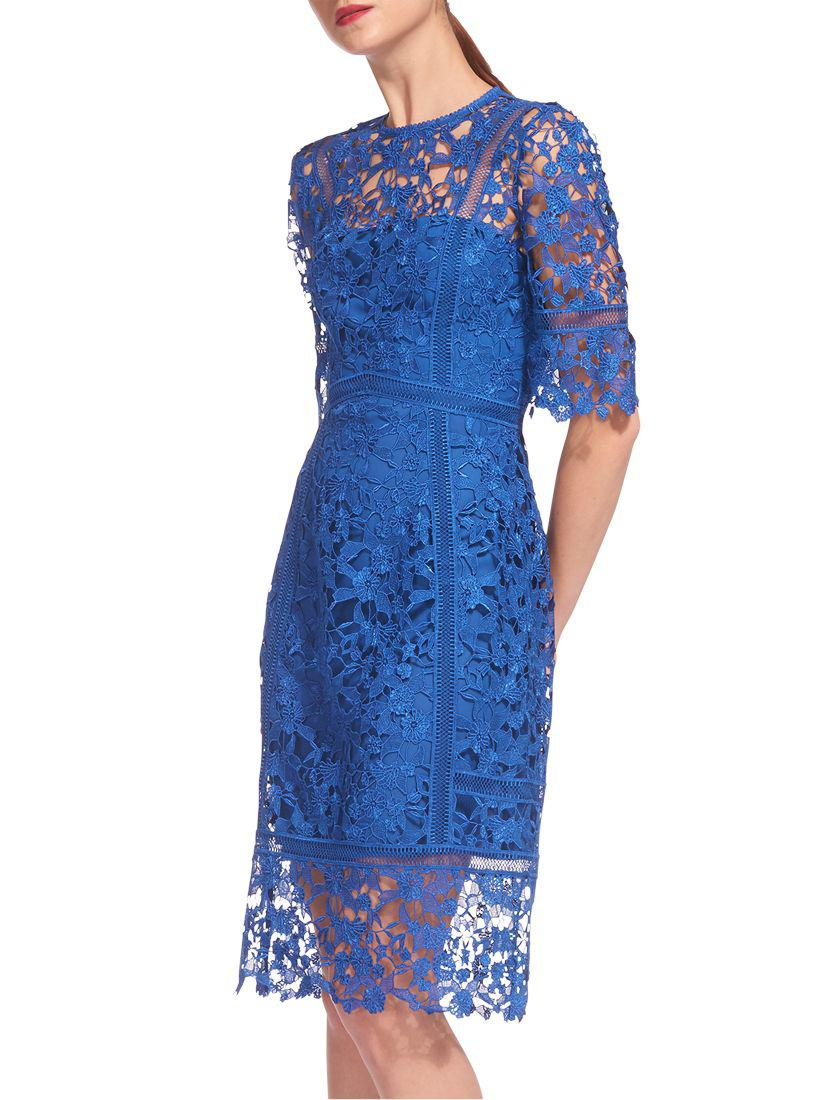 5e235694207 Whistles Lace Frill Hem Dress in Blue - Lyst