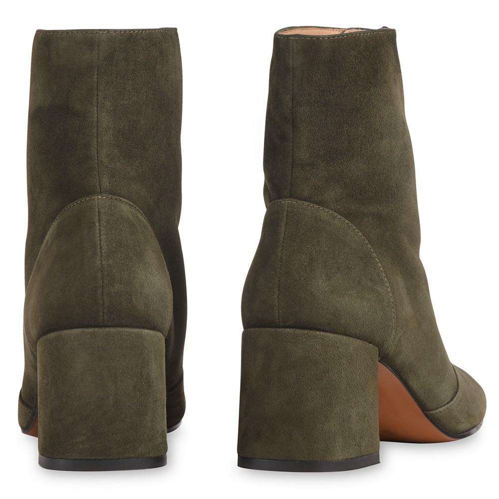 Whistles Rowan Zip Front Suede Boot in Khaki (Green)