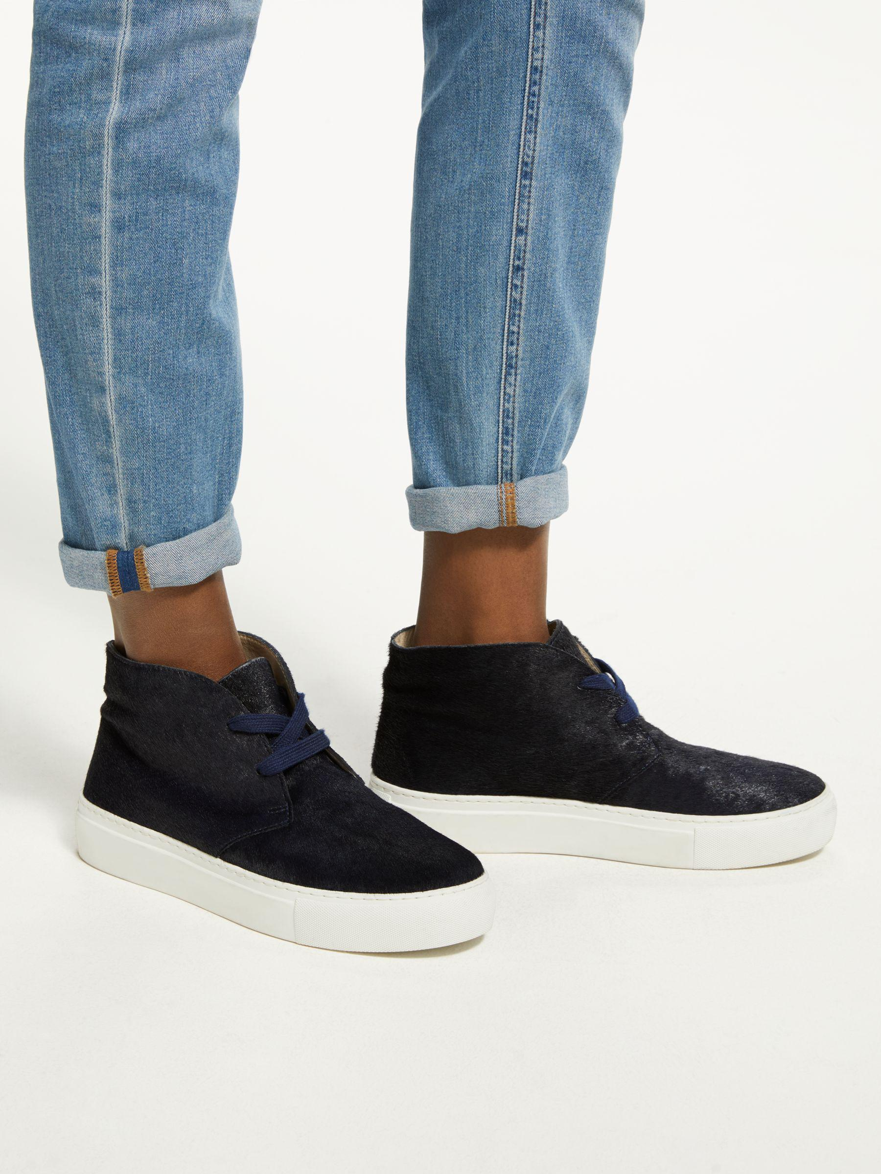 Boden Leather Platform Trainers in Navy
