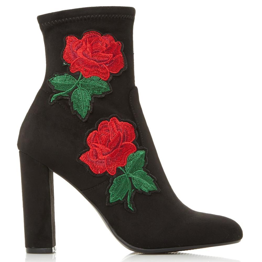 Steve Madden Denim Edition Floral Sock Ankle Boots in Black