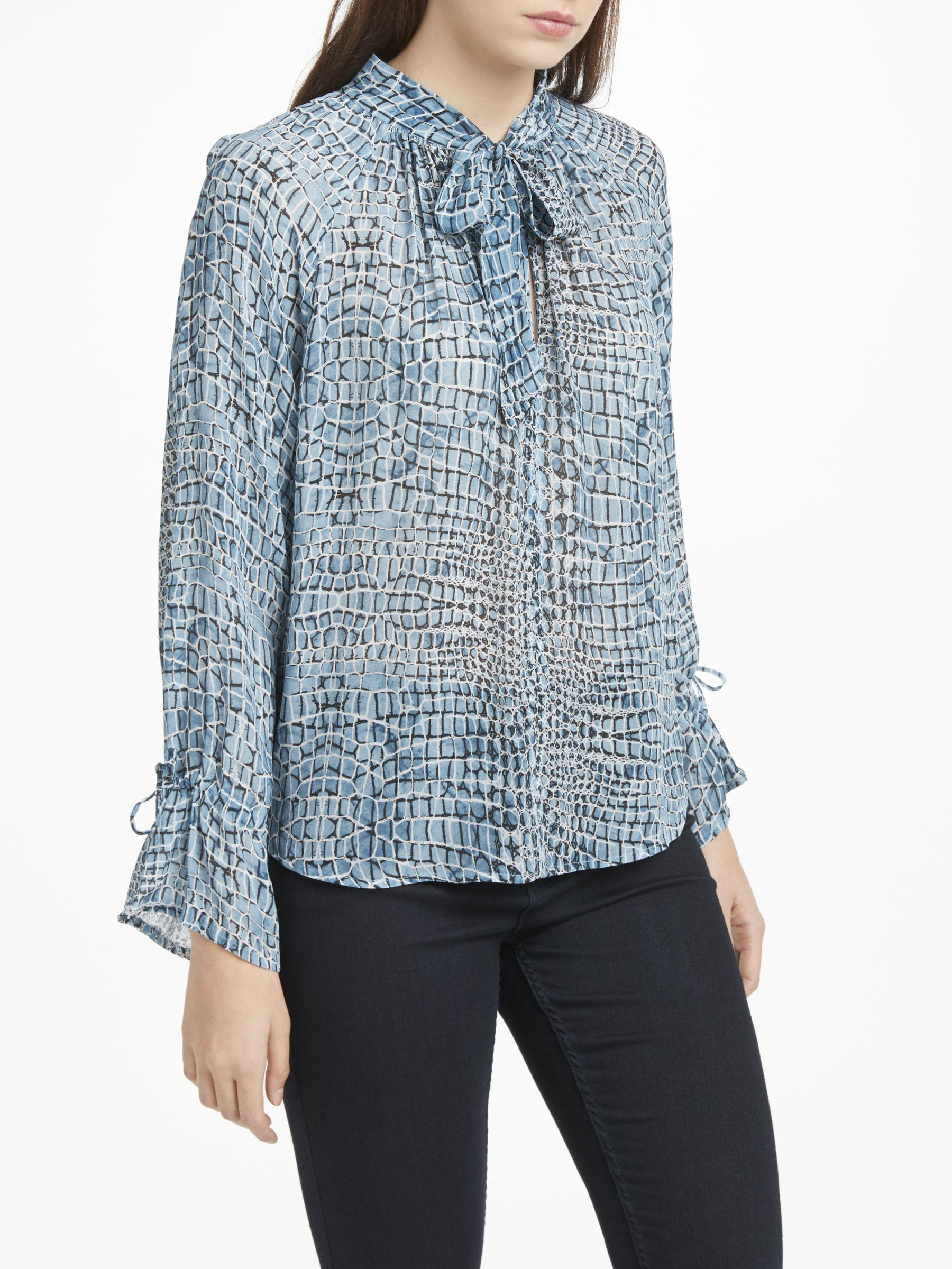 34d104bd14b277 Pyrus Anais Tie Neck Abstract Print Blouse in Blue - Lyst