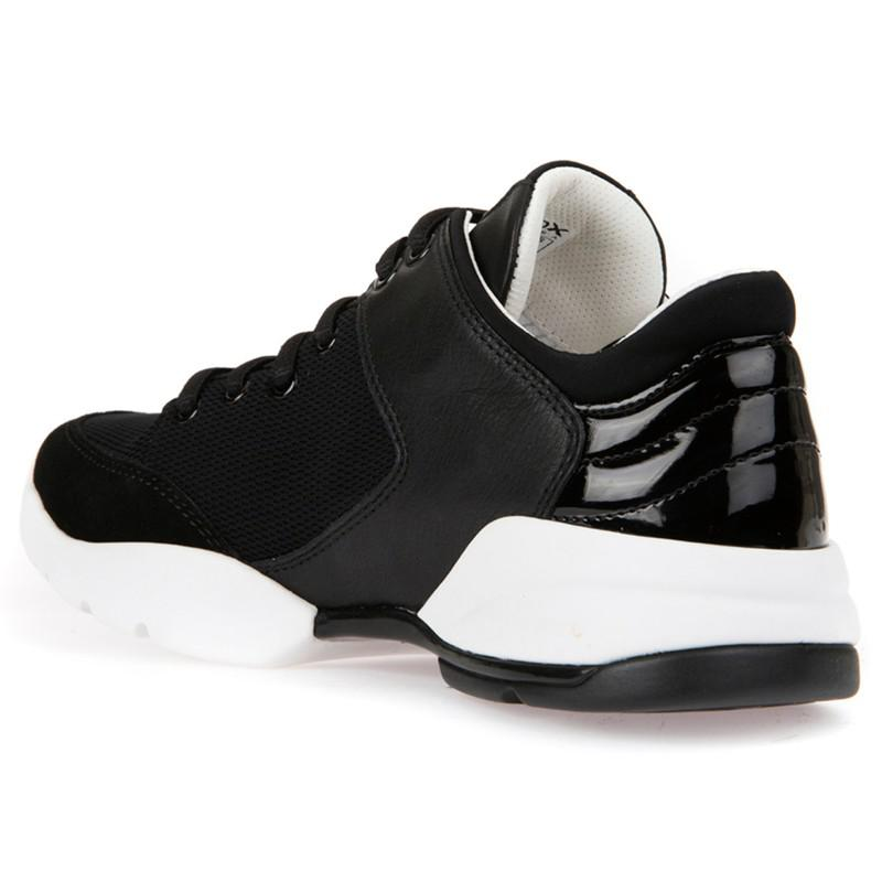 Geox Leather Sfinge Breatheable Trainers in Black