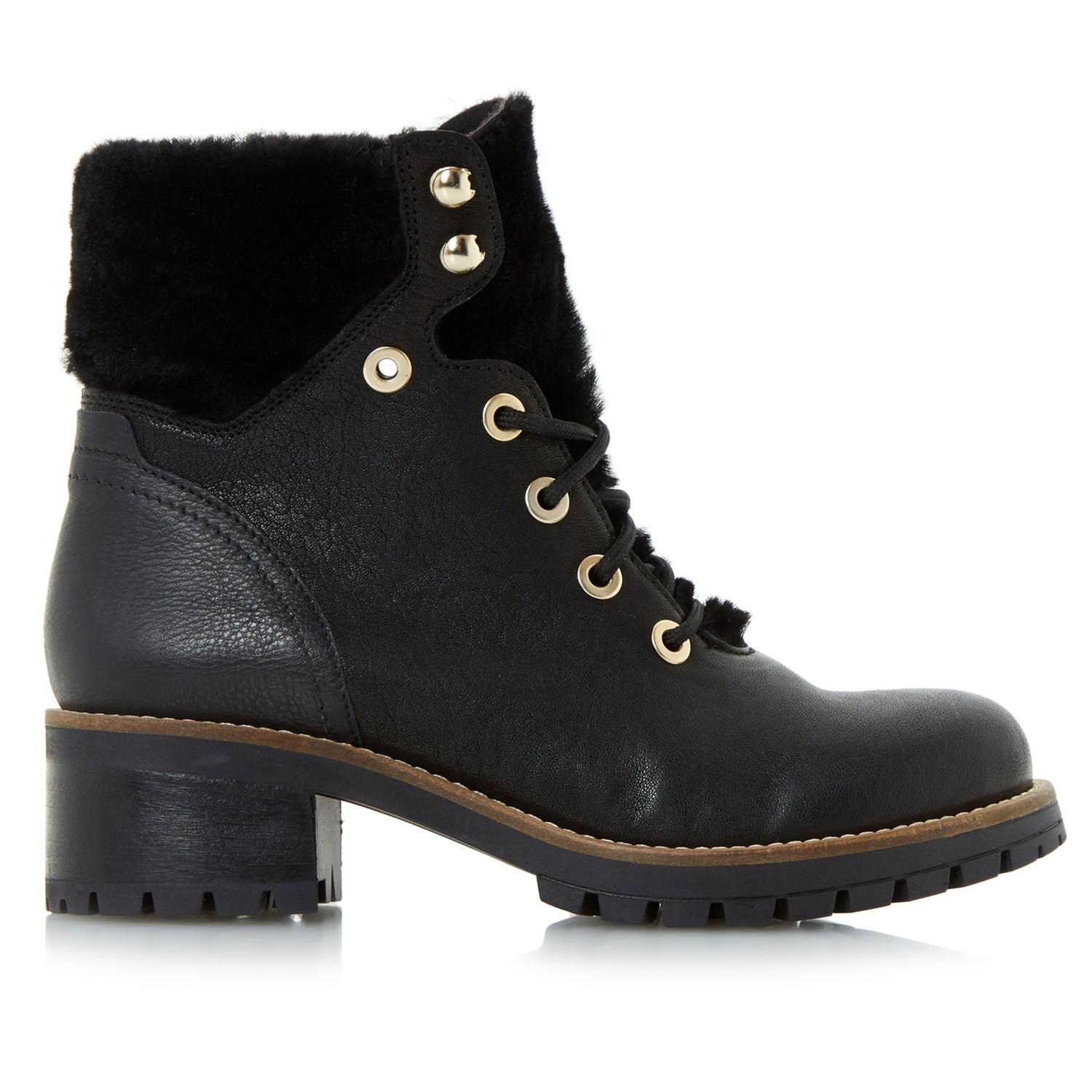 Dune Leather Rochelle Lace Up Ankle Boots in Black
