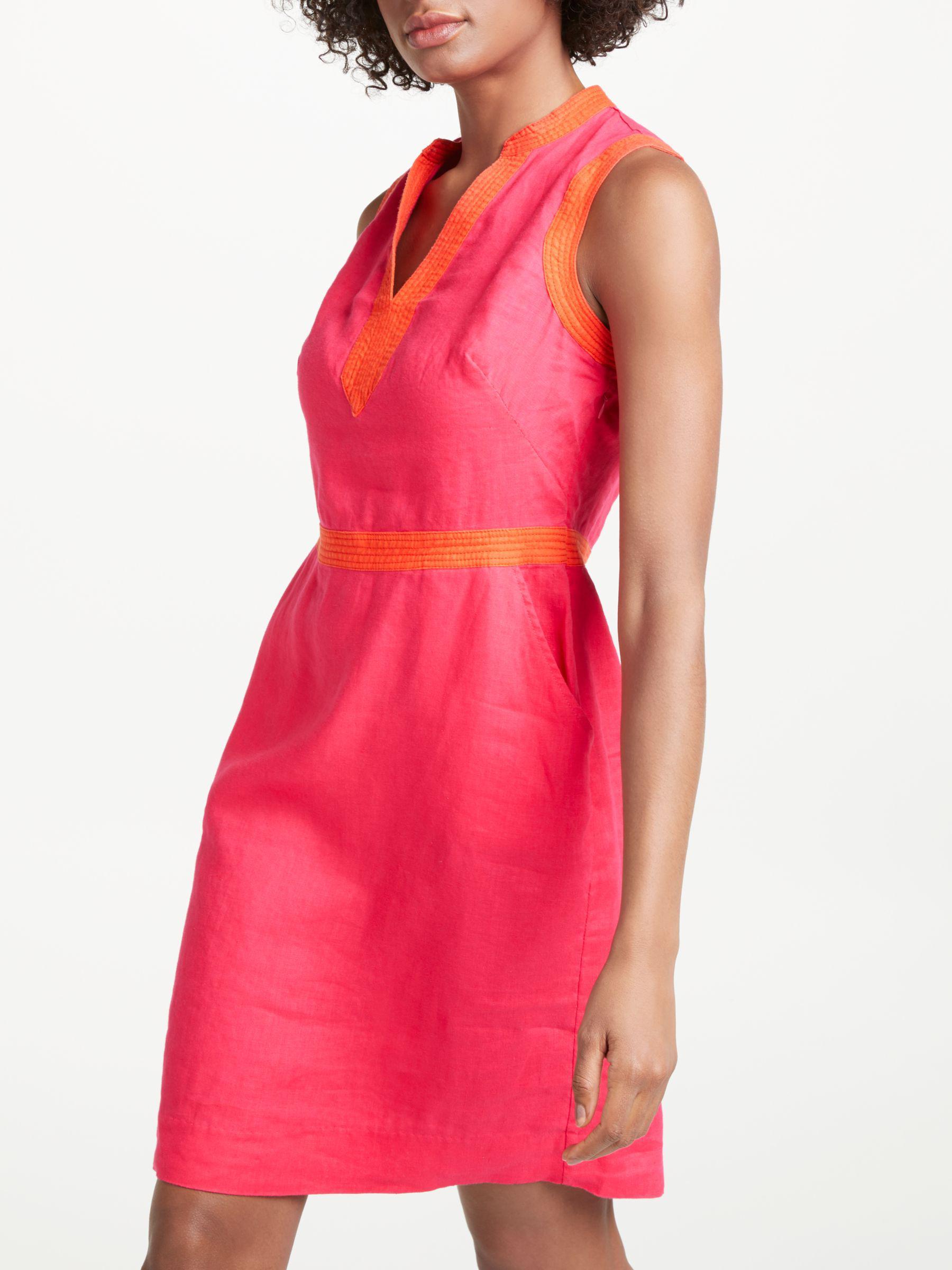 36d624d67f Boden Linen Notch Neck Dress in Pink - Lyst