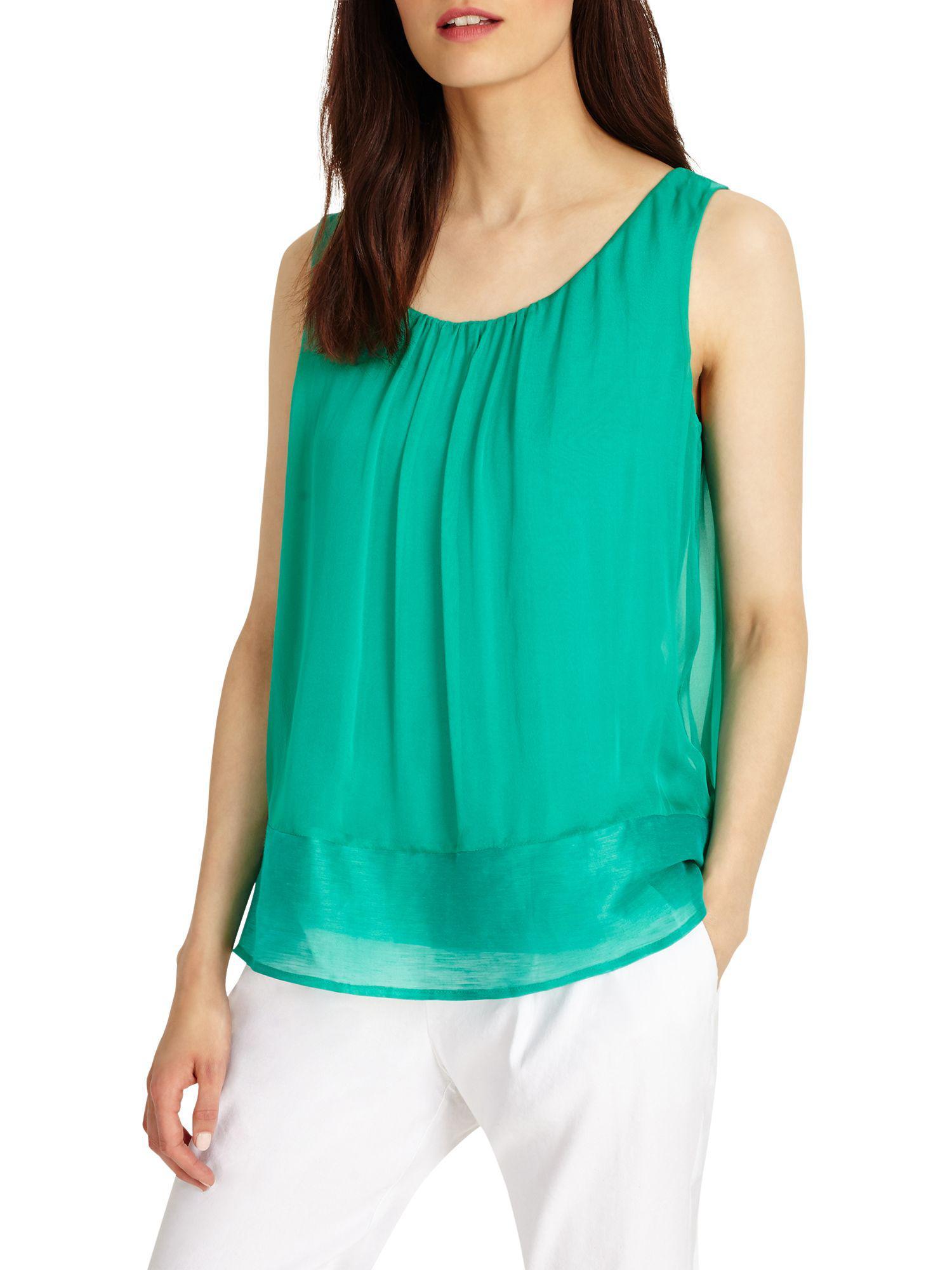 Phase Eight Green Mai Silk Blouse