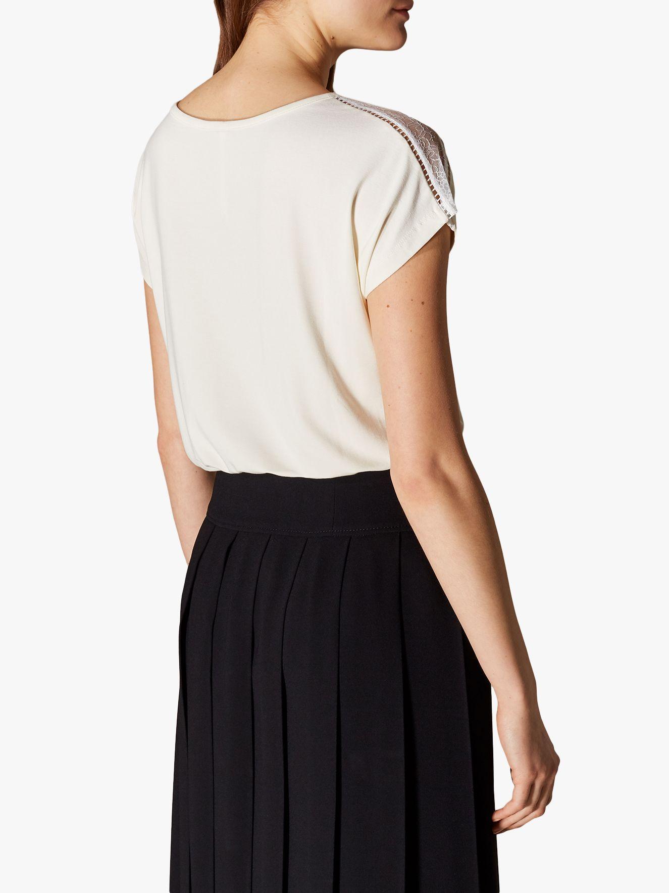 2b392416 Karen Millen Lace Panel T-shirt in White - Lyst