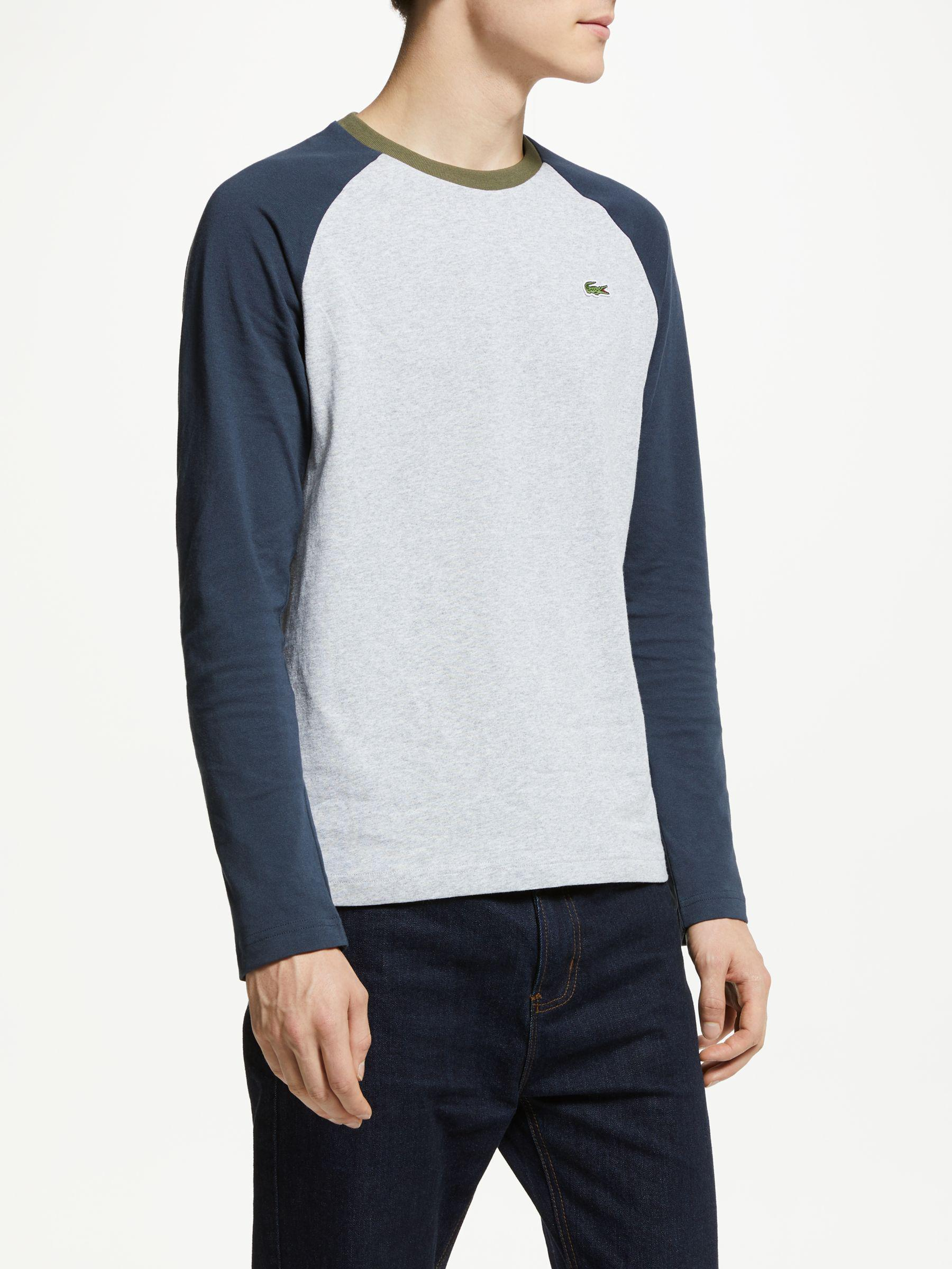 3cfb08ed4ae8b Lacoste Raglan Long Sleeve T-shirt in Gray for Men - Lyst