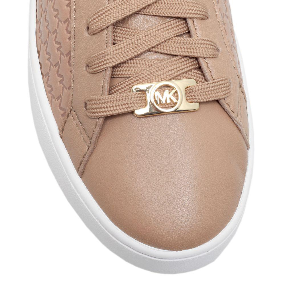 Michael Kors Leather Michael Colby Lace Up Trainers in Khaki Leather (Natural)