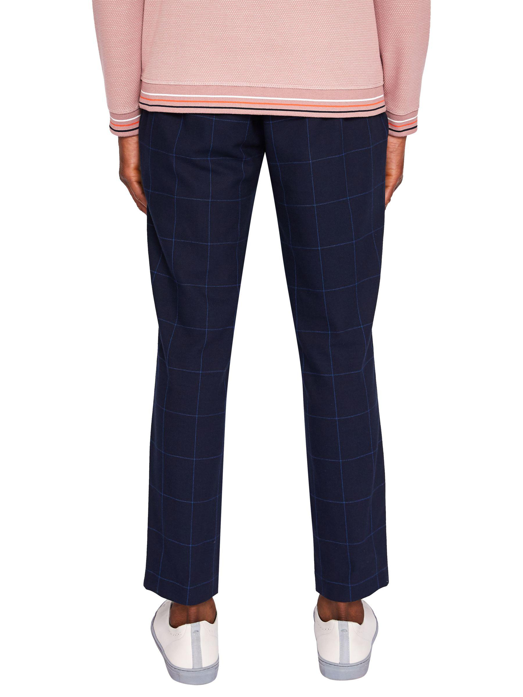Ted Baker Cotton Izartro Slim Fit Windowpane Check Trousers in Navy (Blue) for Men