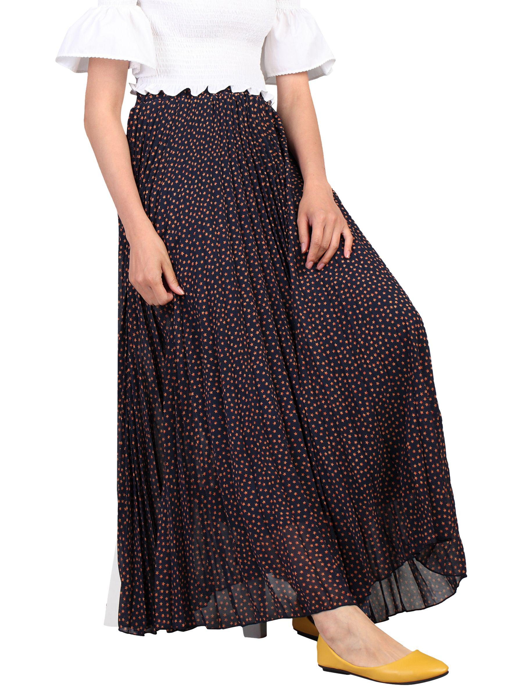 b651c84dce Jolie Moi Pleated Star Maxi Skirt in Blue - Lyst