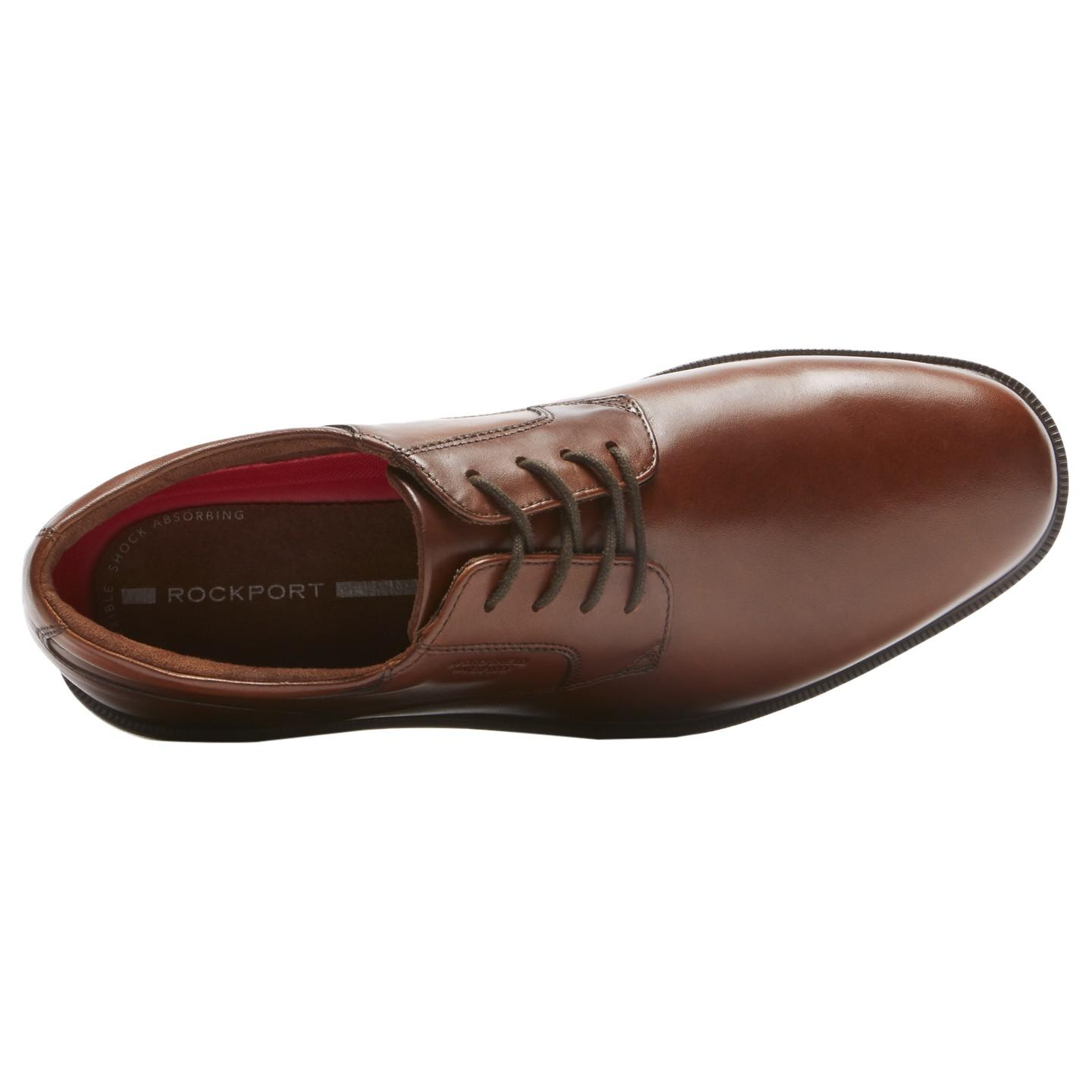 Rockport Essential Details Plaintoe Leather Derby Shoes in Tan (Brown) for Men