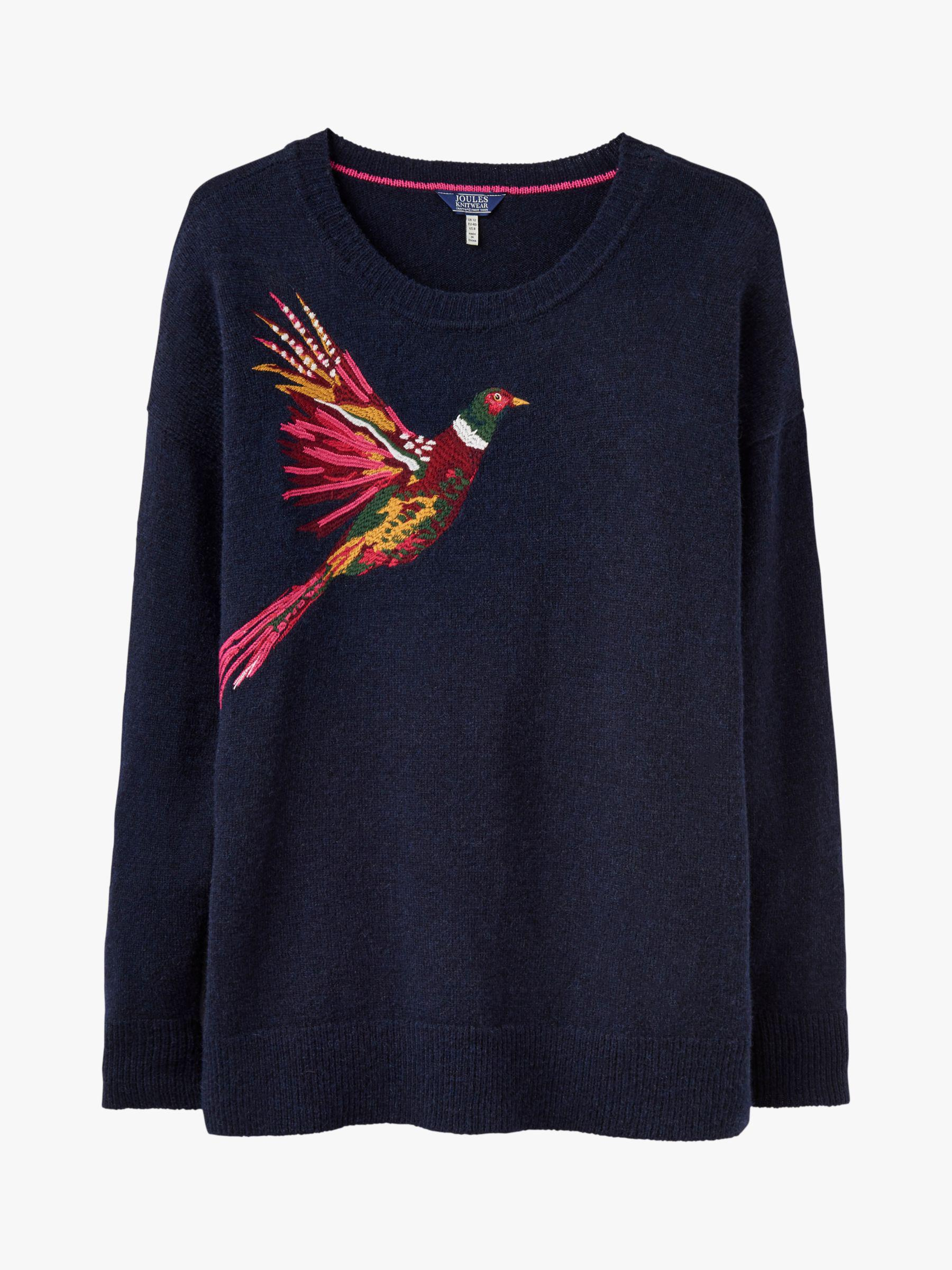 Joules Womens Meryl Intarsia Jumper in Grey Marl Pheasant Embroidery