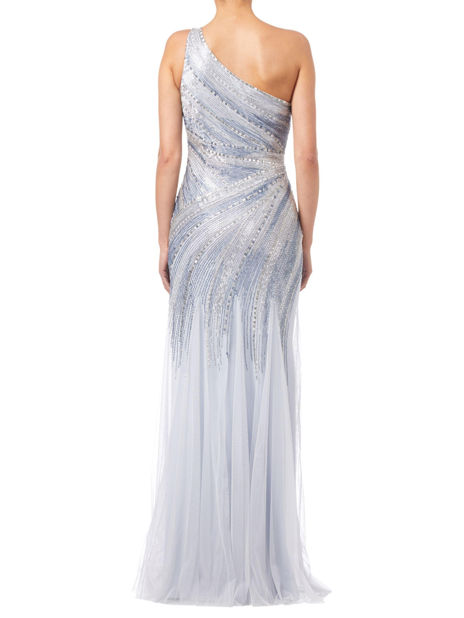 Lyst - Adrianna Papell Beaded Mermaid Gown in Blue
