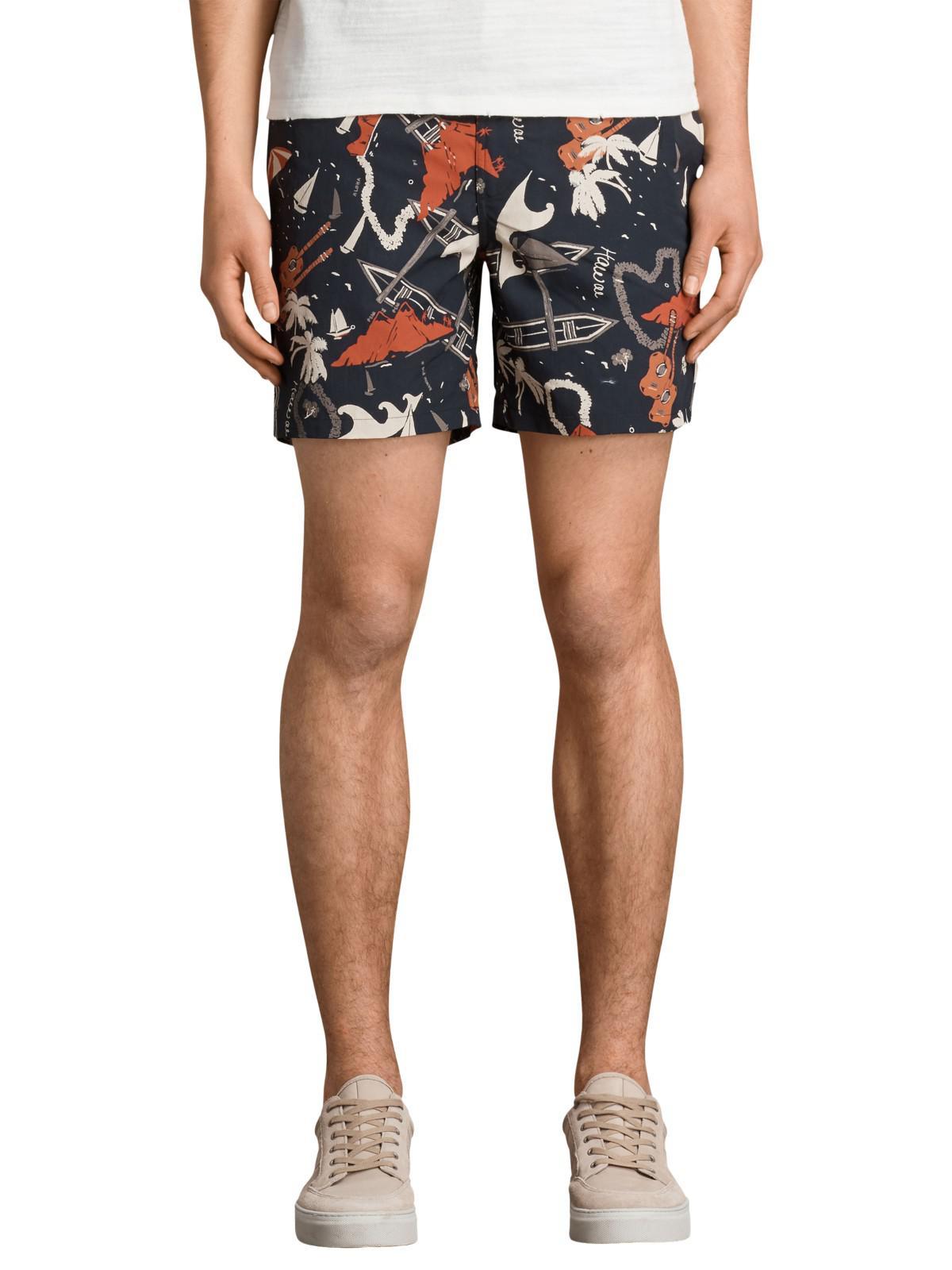 b6675e714cad8 AllSaints Waikiki Swim Shorts in Black for Men - Lyst