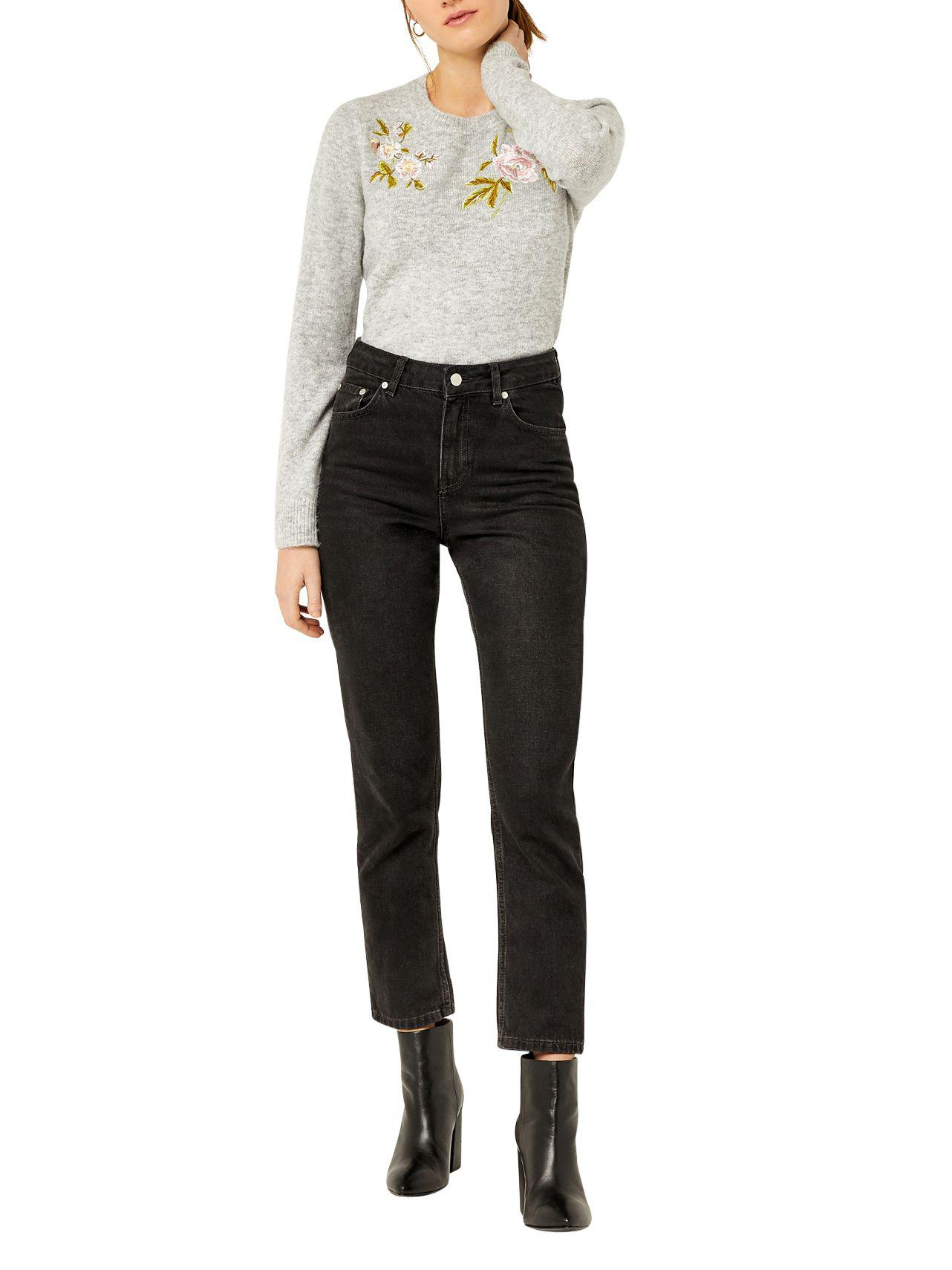 Warehouse Synthetic Molly Embroidered Jumper in Light Grey (Grey)