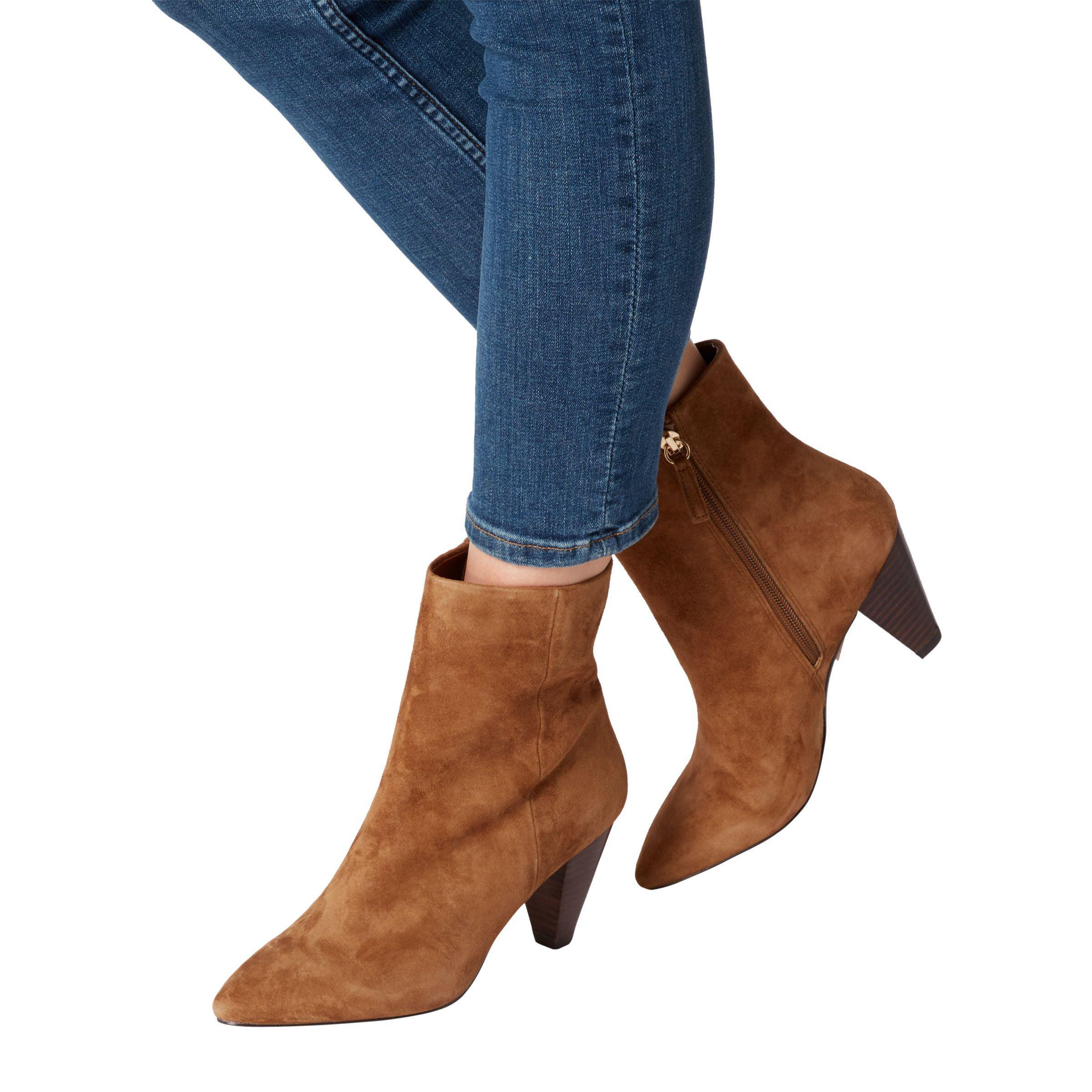 Dune Denim Perru Block Heeled Ankle Boots in Tan Suede (Brown)