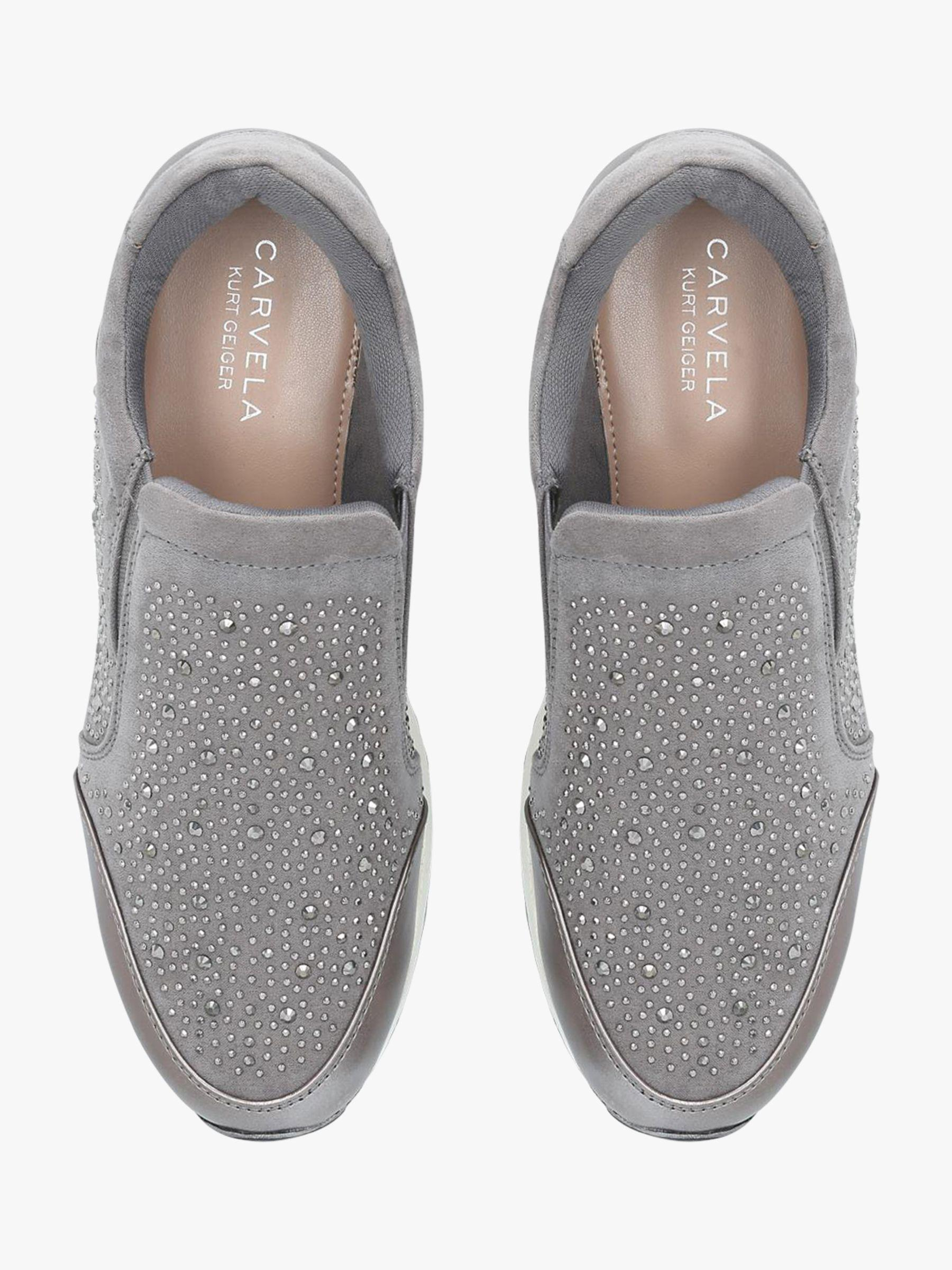 Embellished Slip On Trainers in Grey