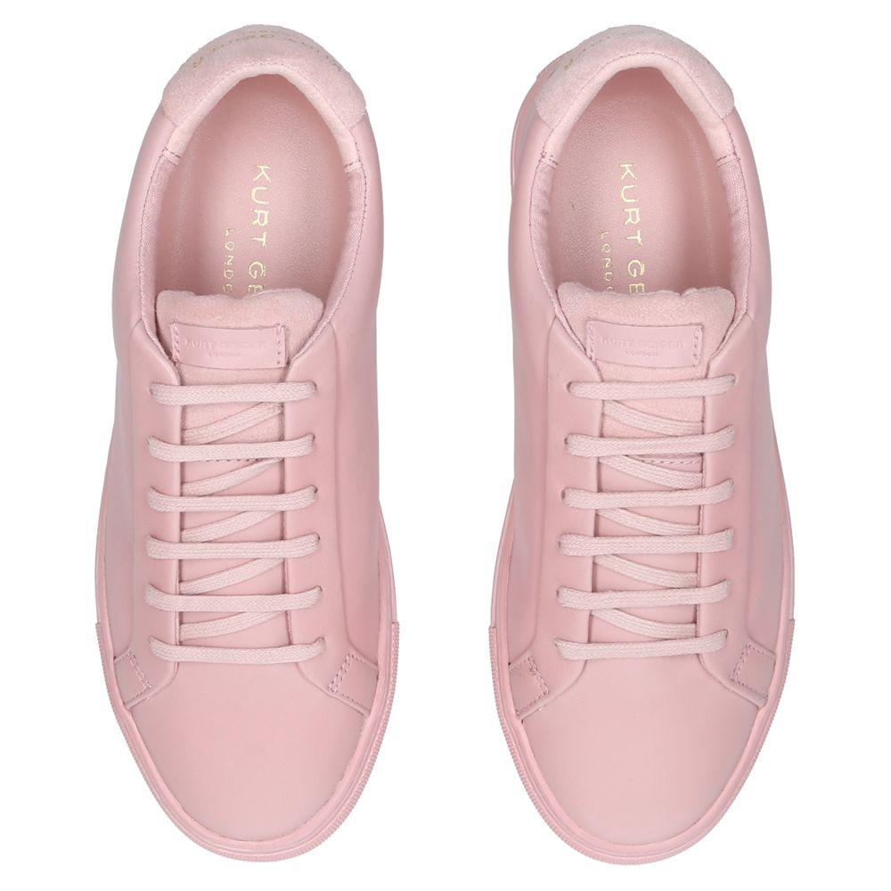 Kurt Geiger Leather Lane Lace Up Trainers in Pink Leather (Pink)