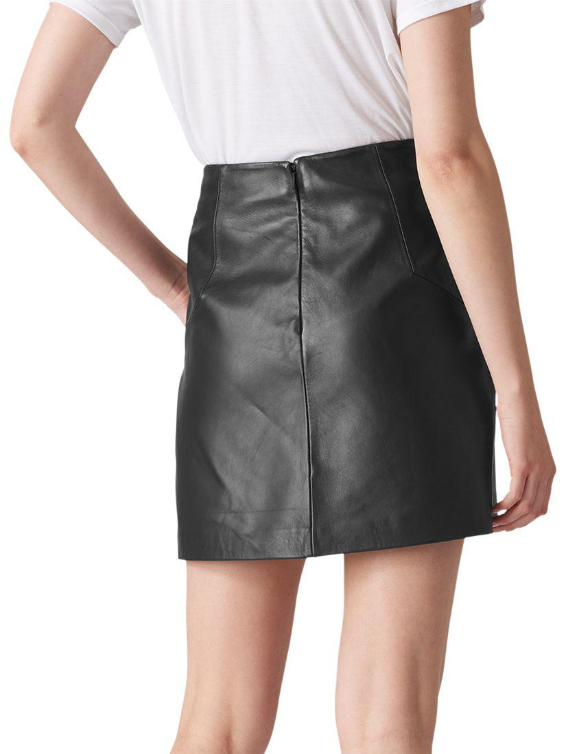 2be1fb843 Whistles A Line Mini Leather Skirt Black – DACC