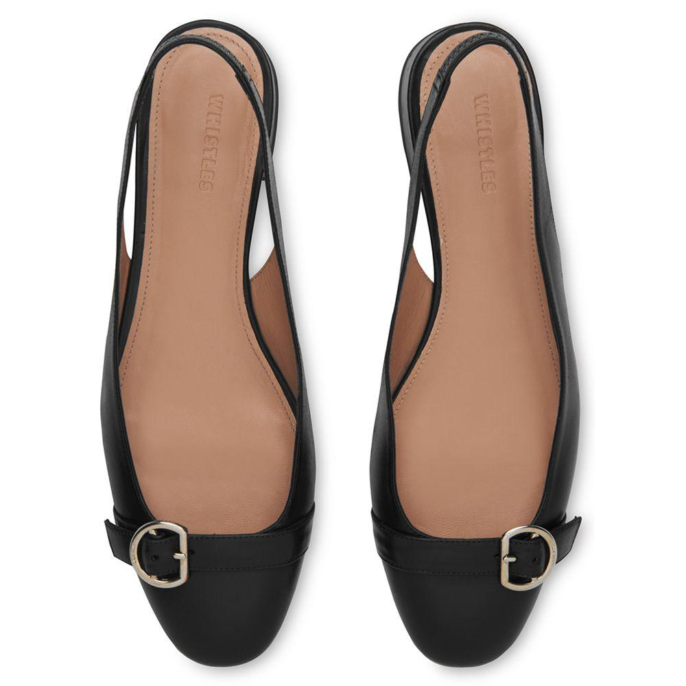 fc7ab99957a Whistles Fairfax Slingback Court Shoes in Black - Lyst