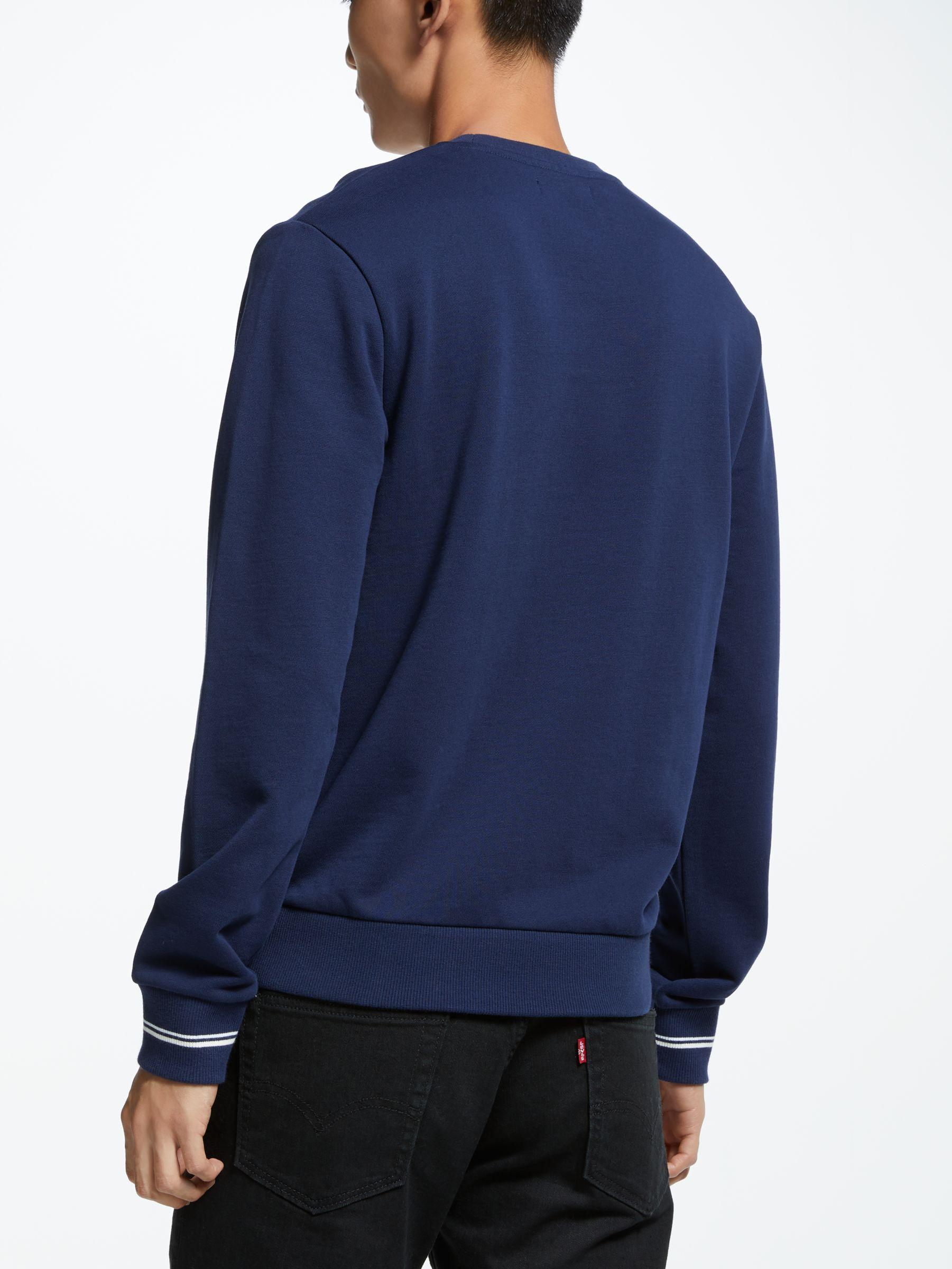 Fred Perry Cotton Crew Neck Sweatshirt in Carbon Blue (Blue) for Men