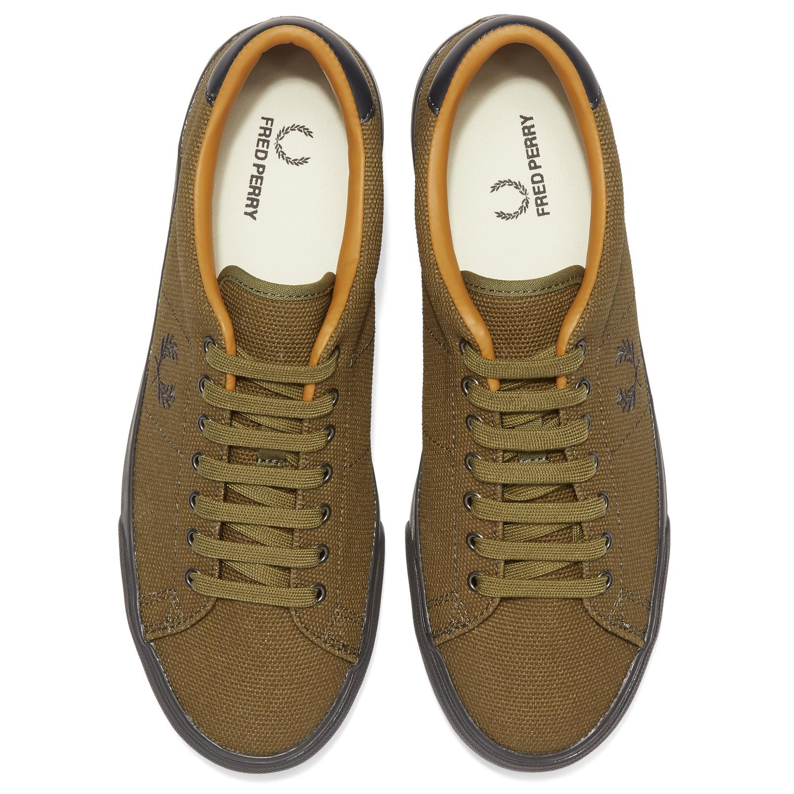 Fred Perry Underspin Canvas Trainers in Dark Olive (Green) for Men