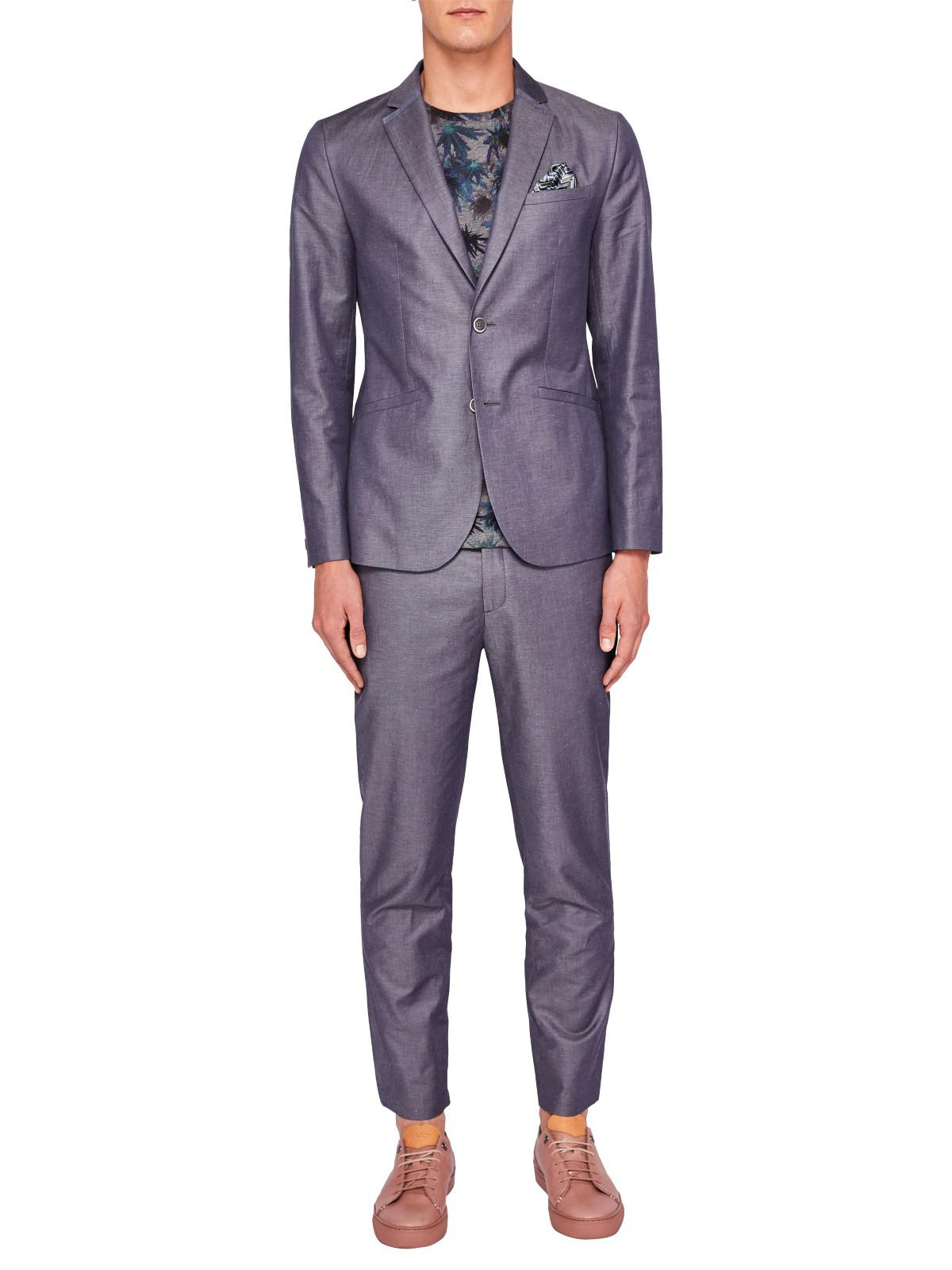Ted Baker Cotton Nutro Tailored Trousers in Blue for Men