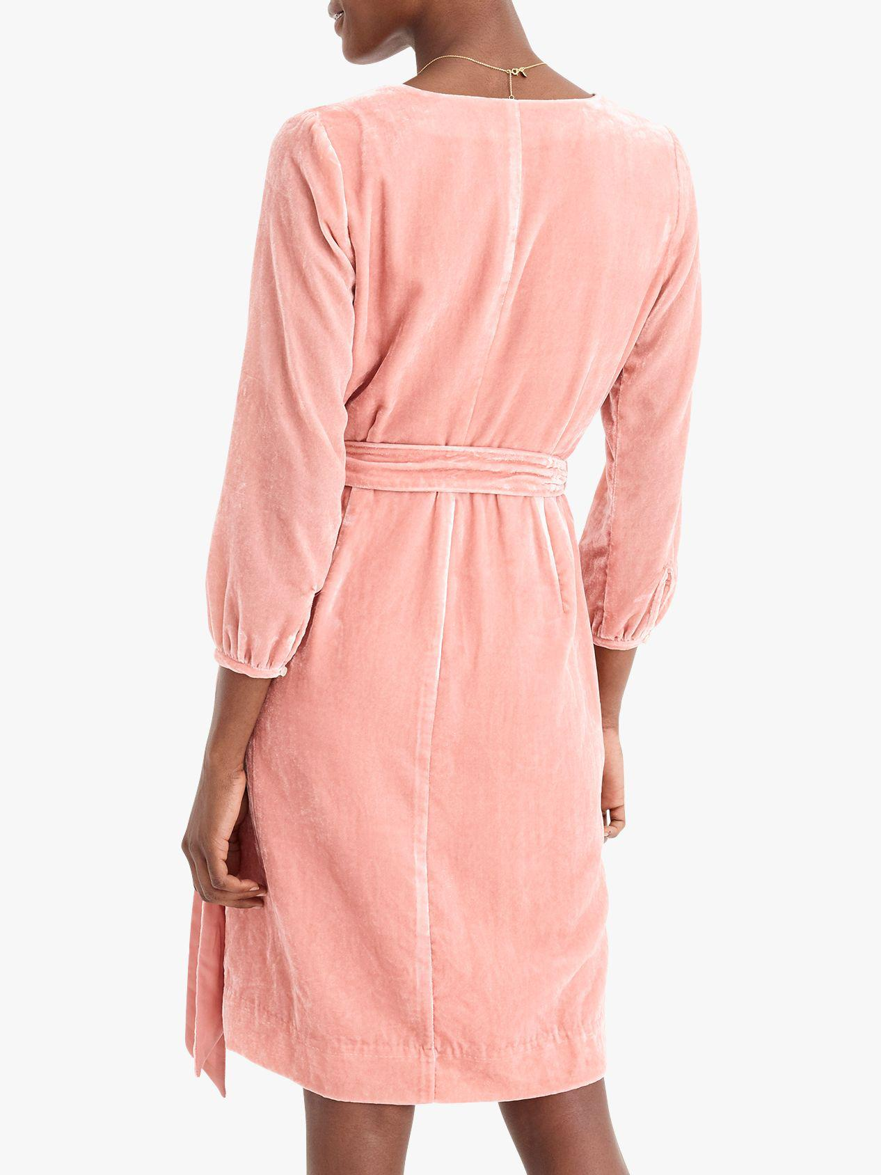8ed43c79cde0d J.Crew Wrap Dress In Drapey Velvet in Pink - Save 32% - Lyst