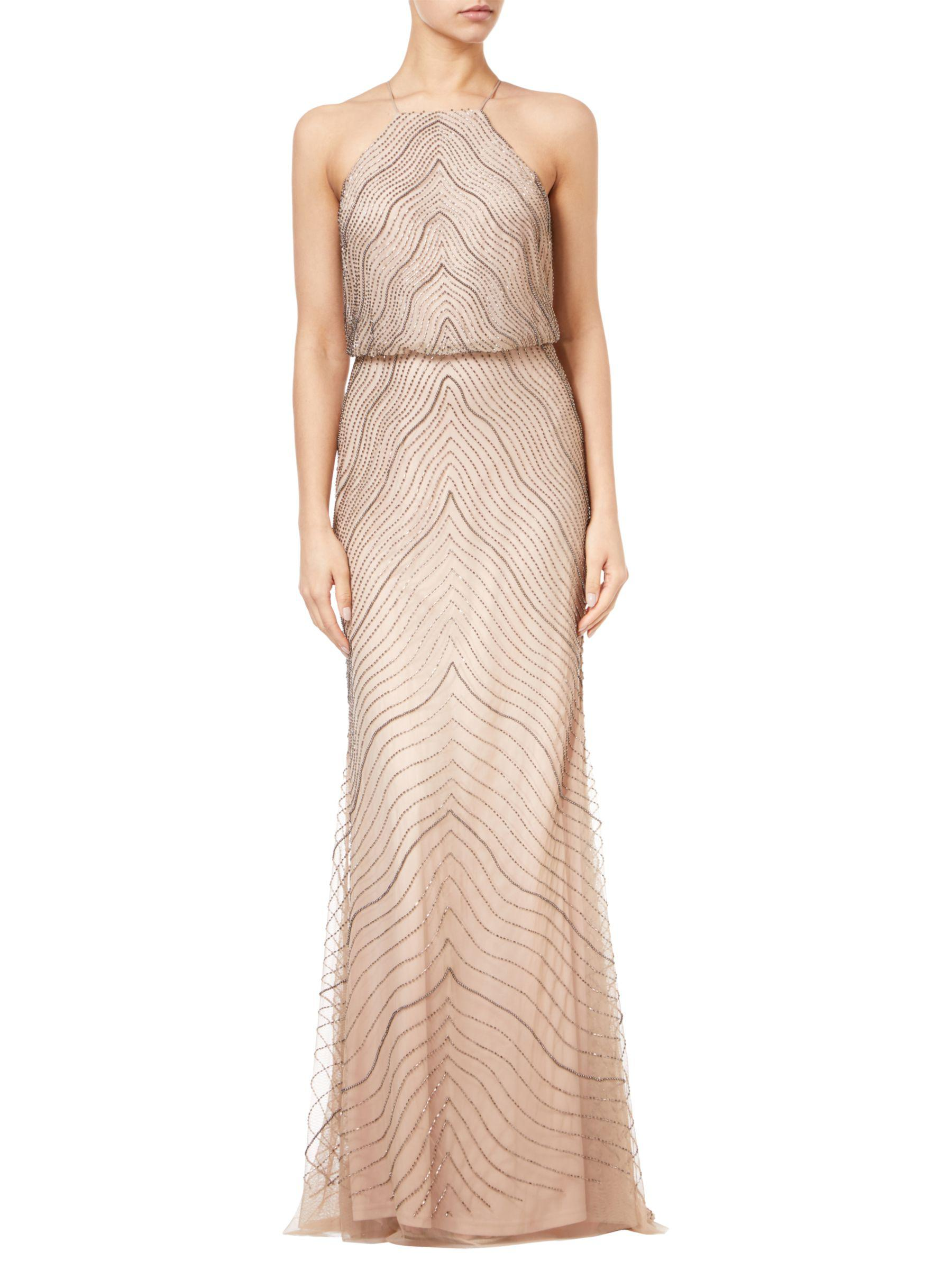 f427fa8b Adrianna Papell Halter Beaded Blouson Gown in Pink - Lyst