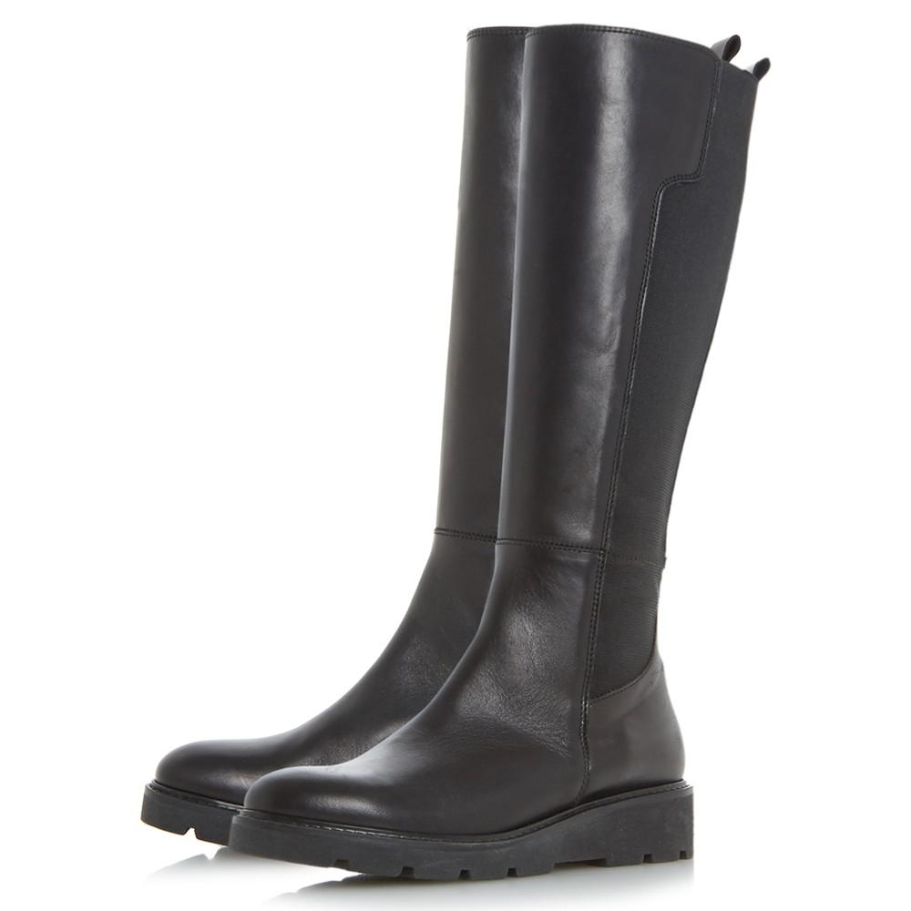 Dune Leather Tula Flatform Knee High Boots in Black
