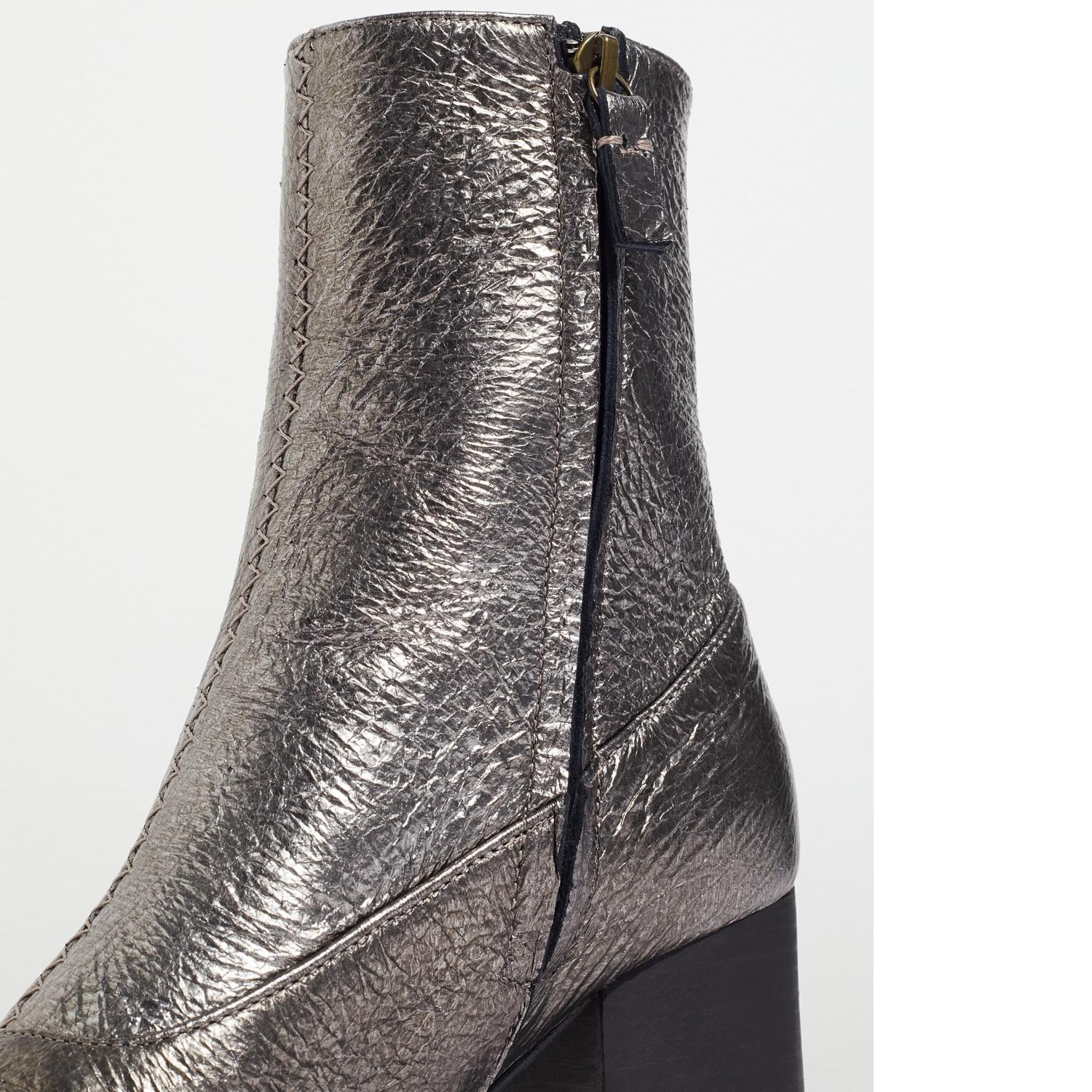 Jigsaw Leather Hansen Block Heeled Ankle Boots in Pewter (Grey)