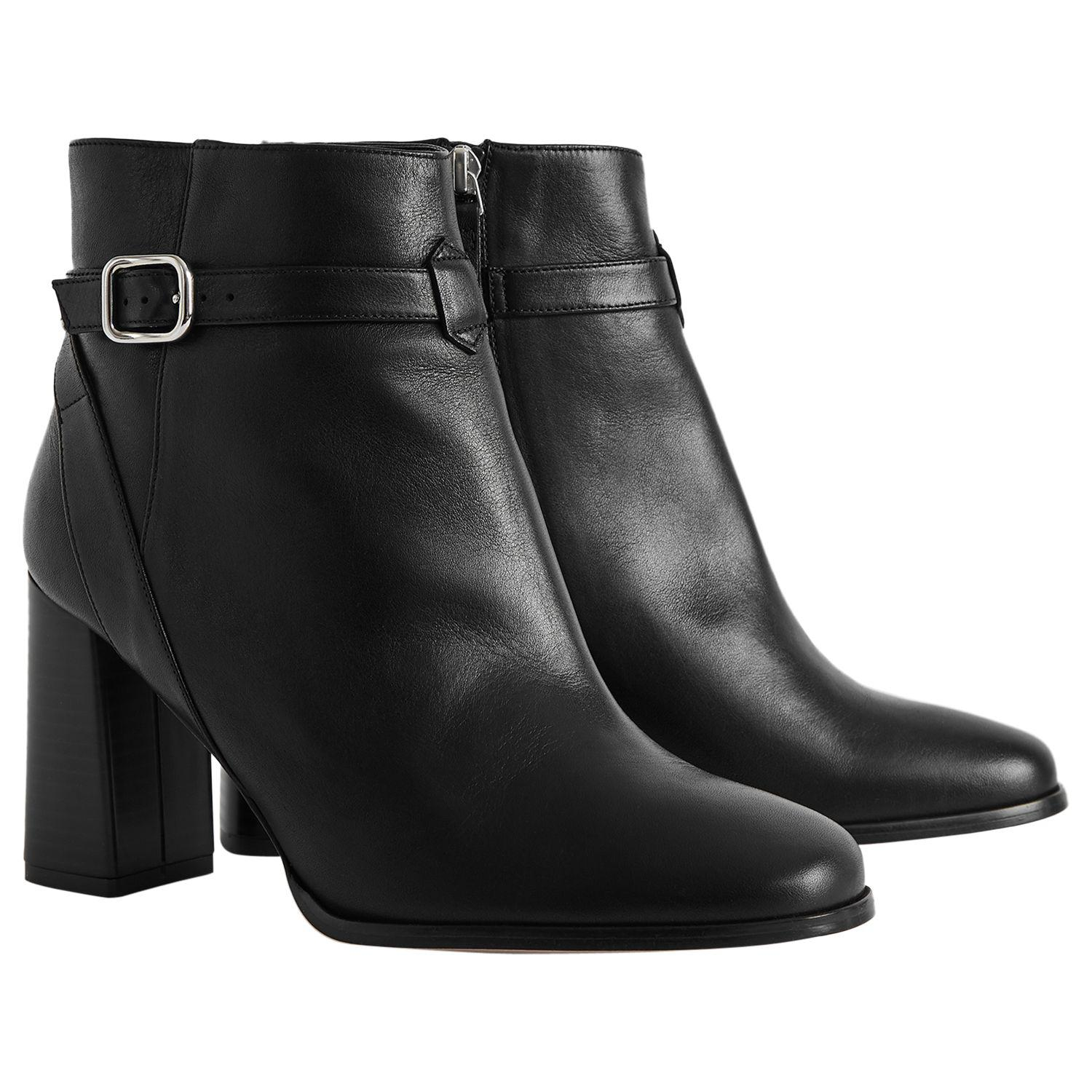 Reiss Fulham Leather Buckle Strap Heeled Ankle Boots in Black