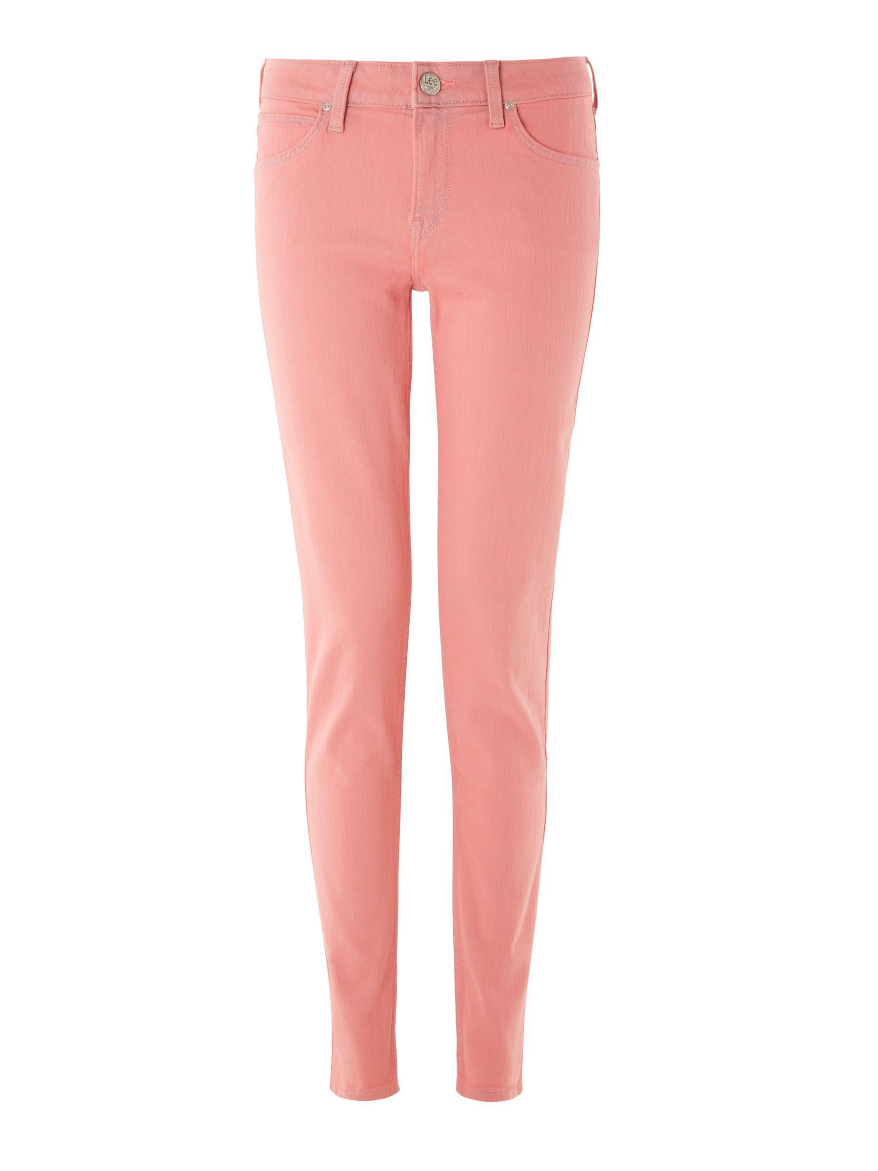 Lee Jeans Denim Scarlett Regular Waist Skinny Jeans in Pastel Pink (Pink)