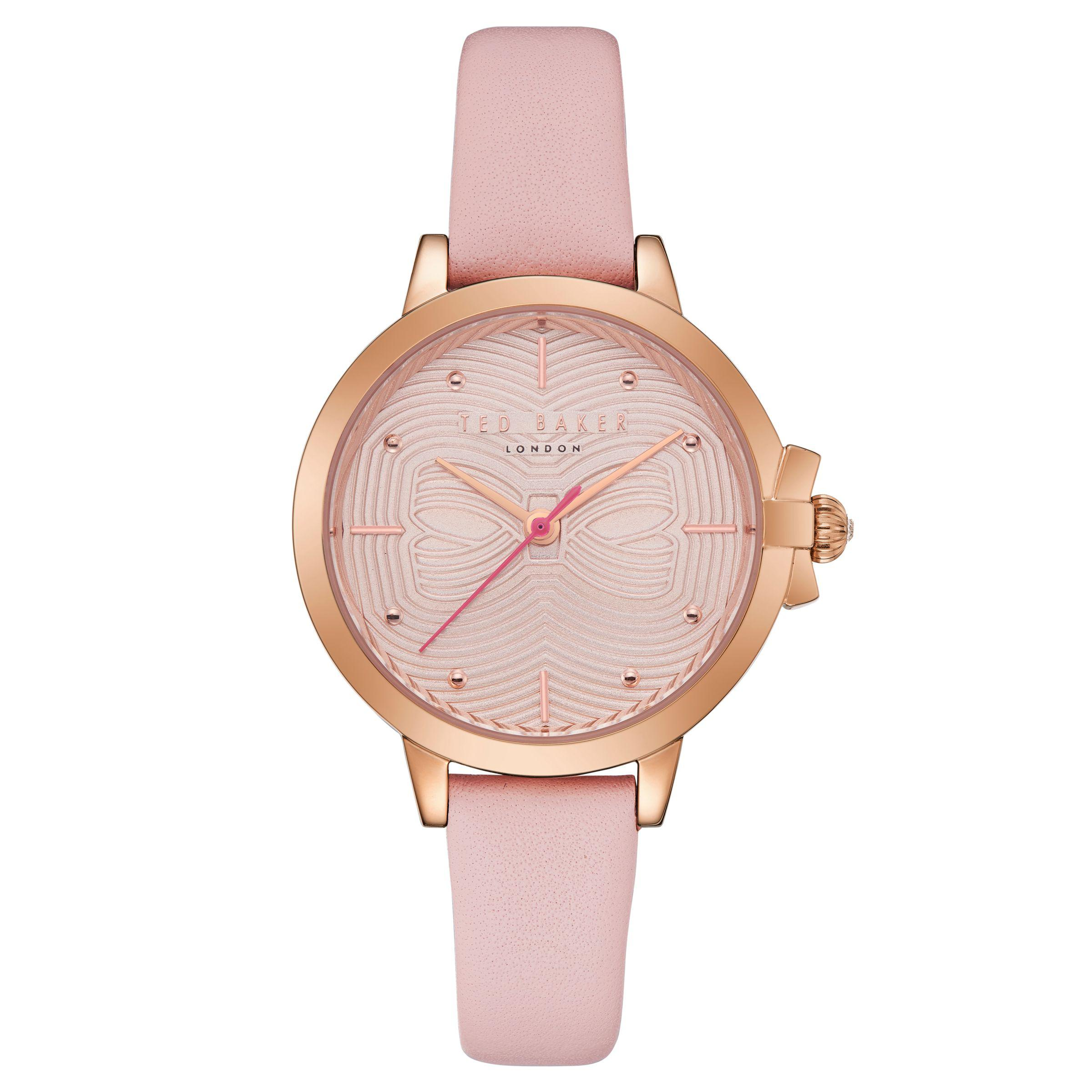 1bf6ff9b9 Ted Baker Women s Beth Bow Dial Leather Strap Watch in Pink - Lyst