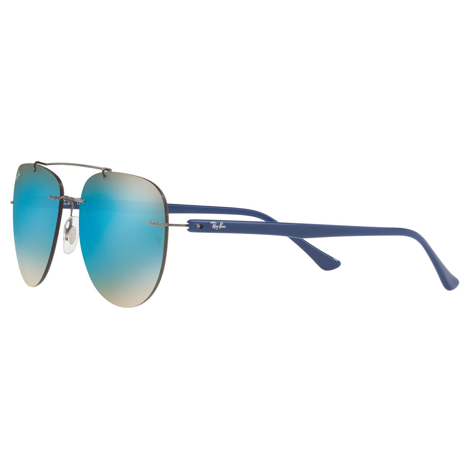 Ray-Ban Rb8059 Mirrored Aviator Sunglasses in Blue/Silver (Blue) for Men