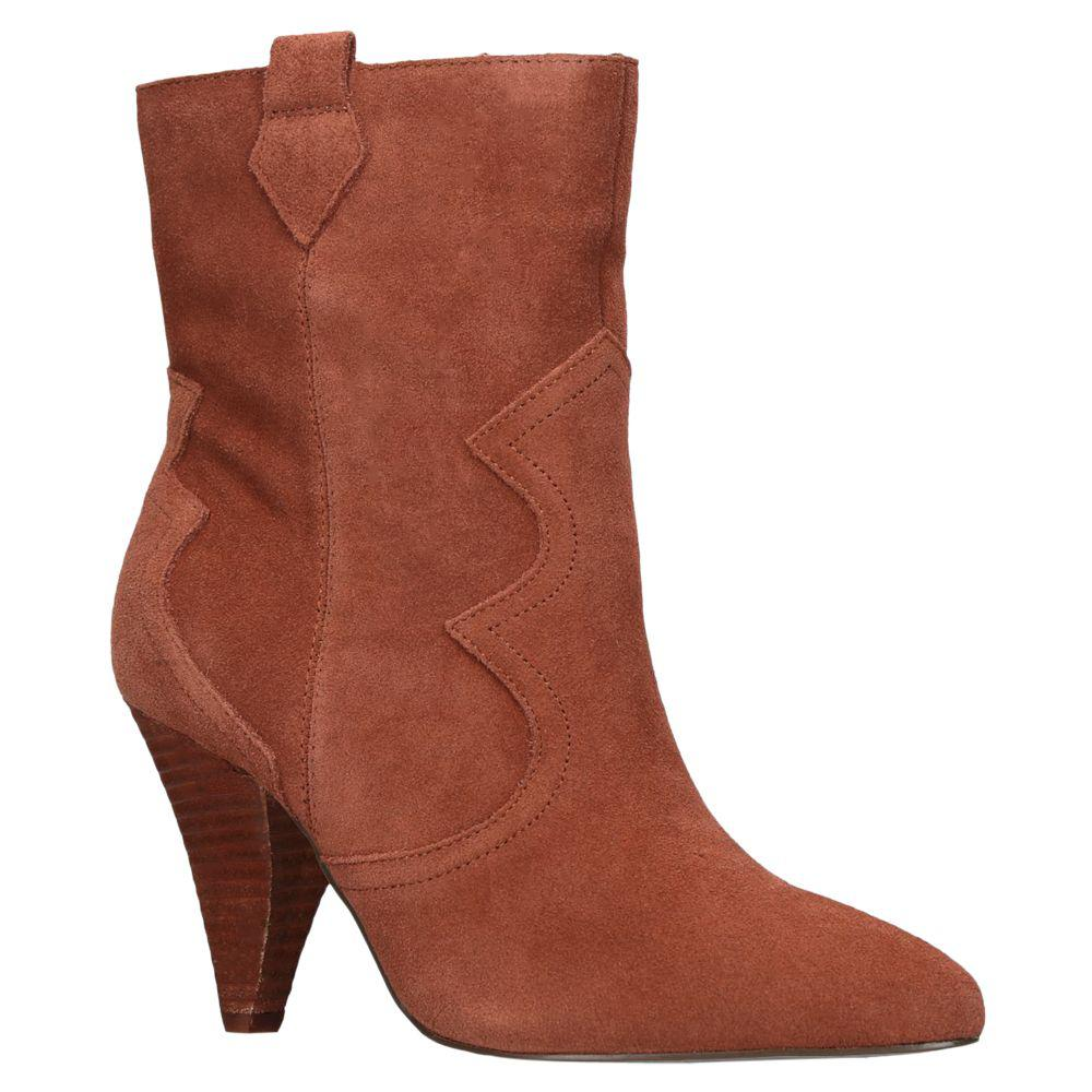 KG by Kurt Geiger Suede Token Cone Heel Ankle Boots in Tan Suede (Brown)