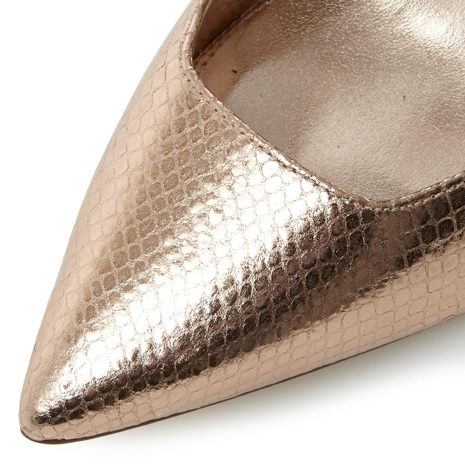 4af9a2d0ee52 Dune Wide Fit Aiyana Stiletto Court Shoes in Metallic - Lyst
