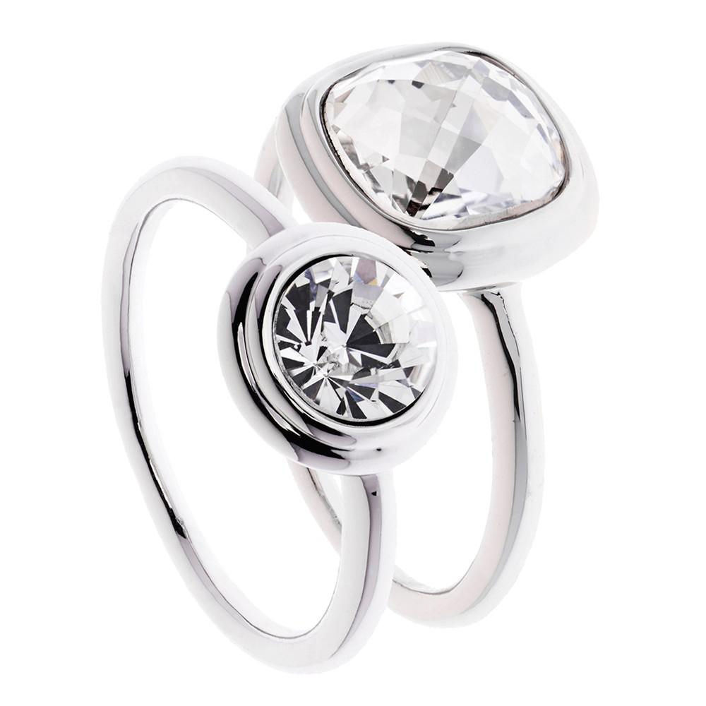 Karen Millen Milano Swarovski Crystal Double Ring in Silver (Metallic)