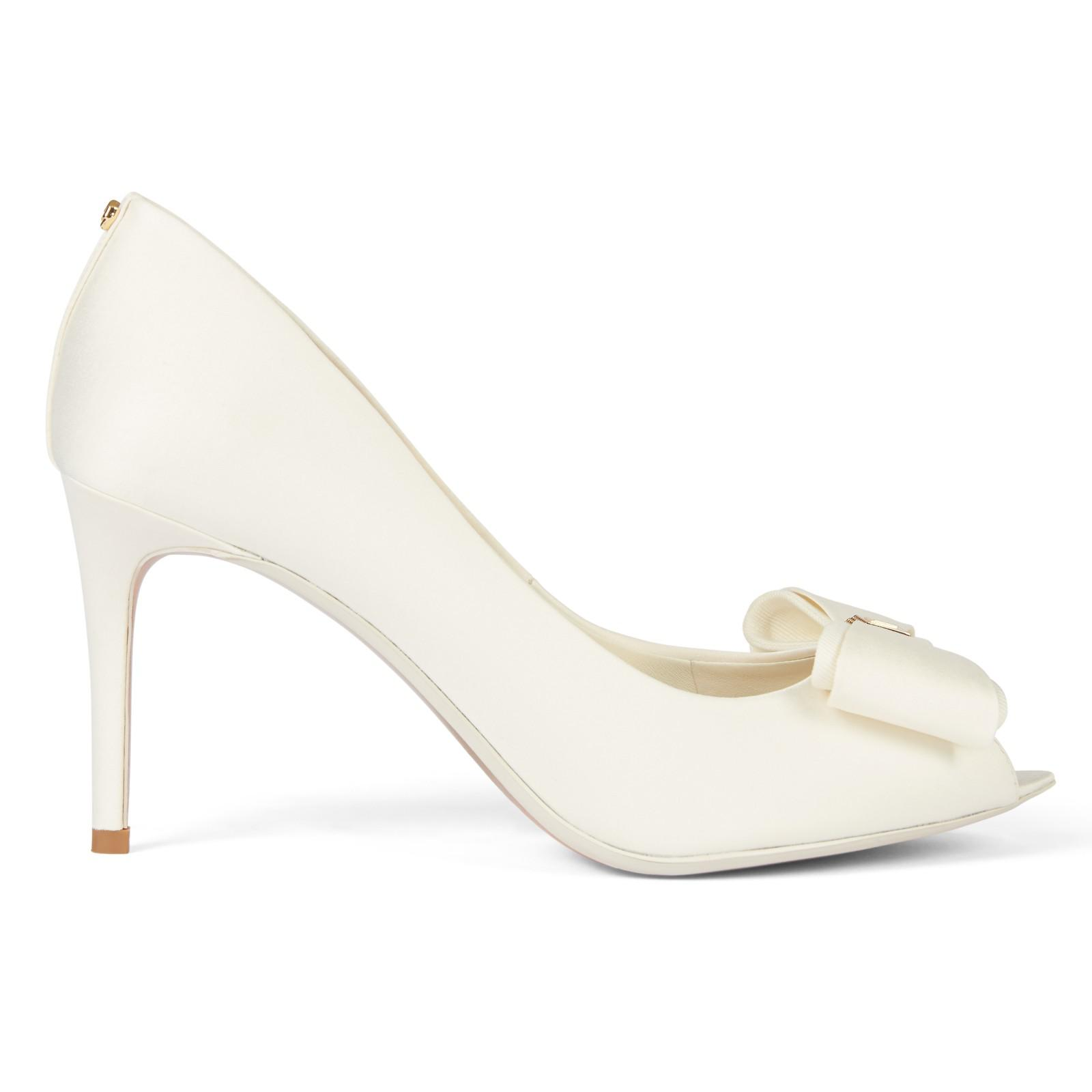0e17516f4d59 Ted Baker Tie The Knot Alifair Peep Toe Bow Sandals in White - Lyst