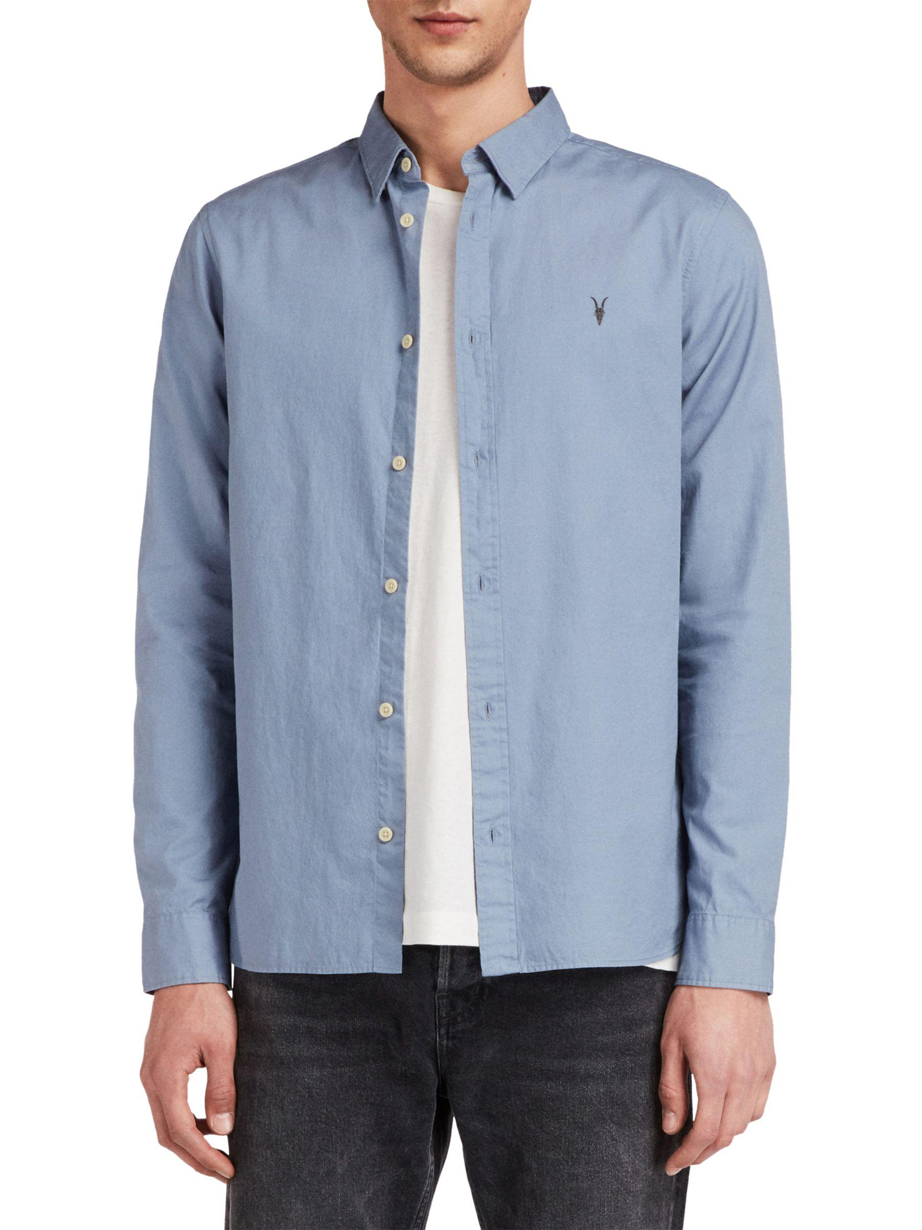 349864dceb27 AllSaints. Men's Gray Redondo Plain Cotton Shirt. £70 £39 + £3.50 shipping  From John Lewis ...