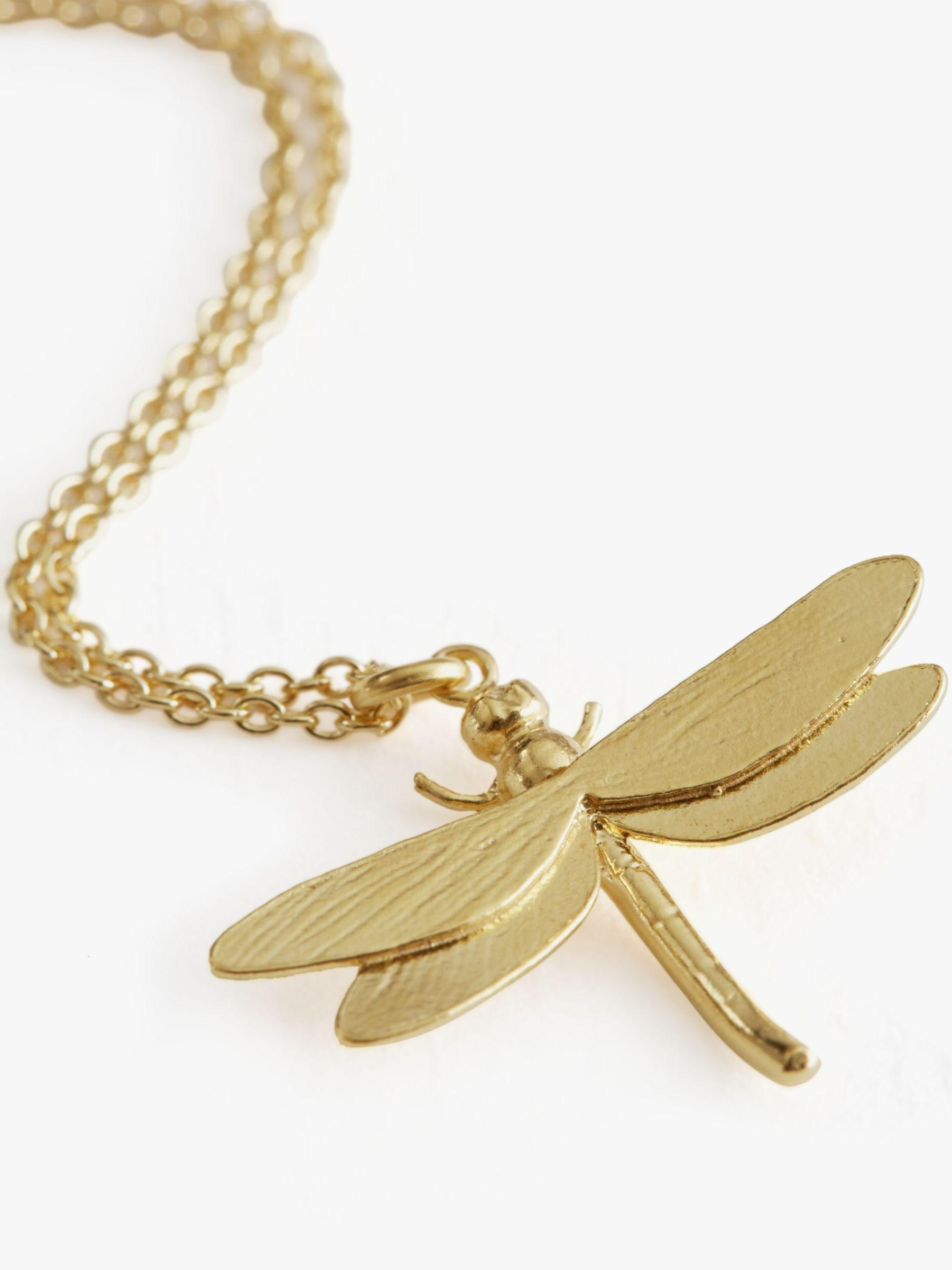 Alex Monroe Dragonfly Pendant Necklace in Gold (Metallic)