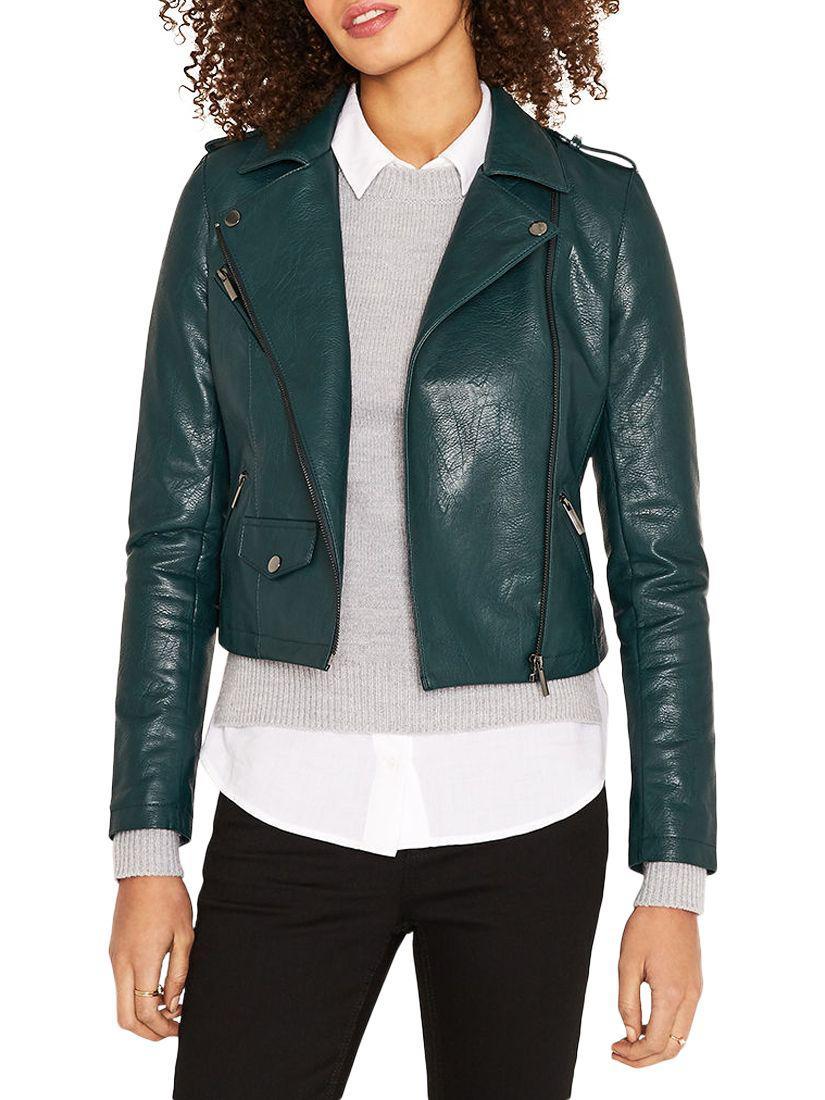 cda5c01570d4 Oasis Lucy Faux Leather Biker Jacket in Green - Lyst