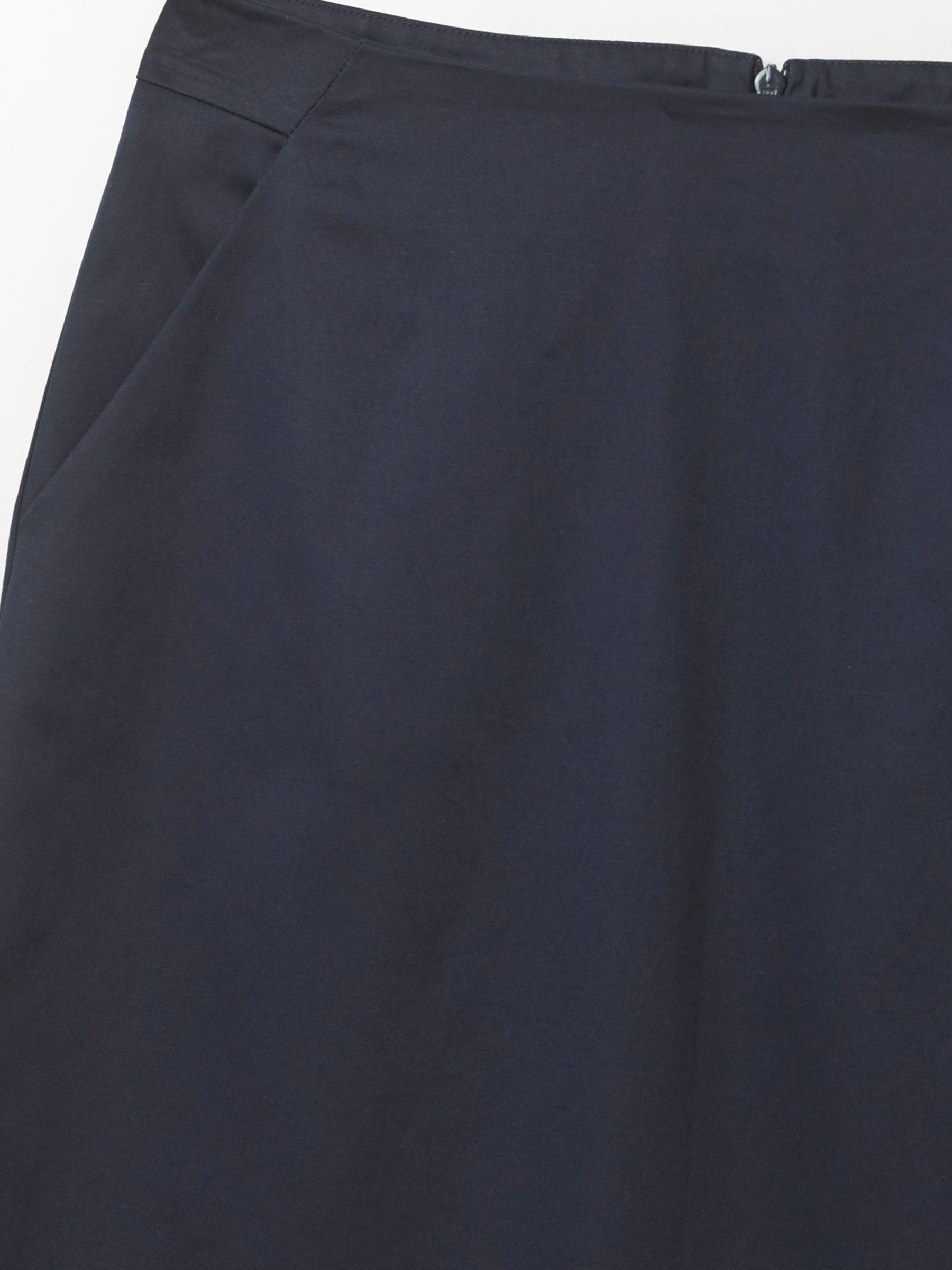 White Stuff Cotton Sara Sateen Skirt in Navy (Blue)