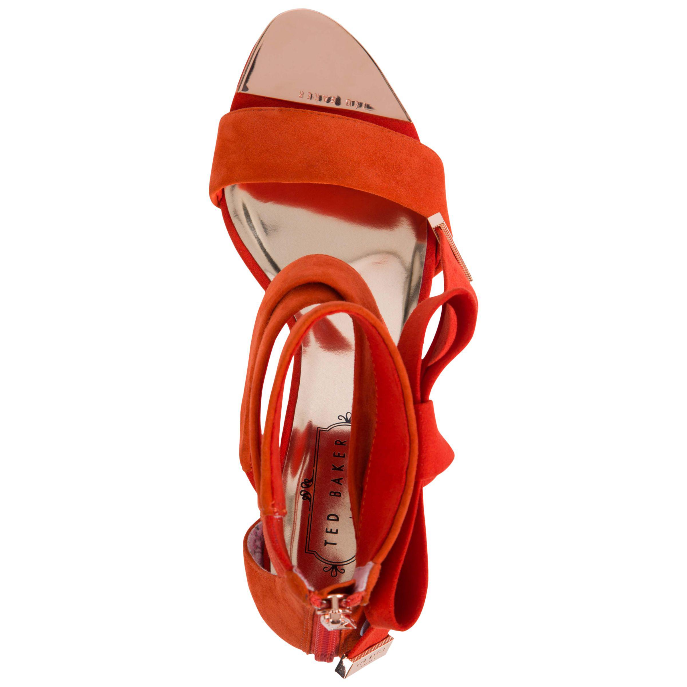 Ted Baker Leather Noxen 2 Cross Strap Bow Sandals in Red