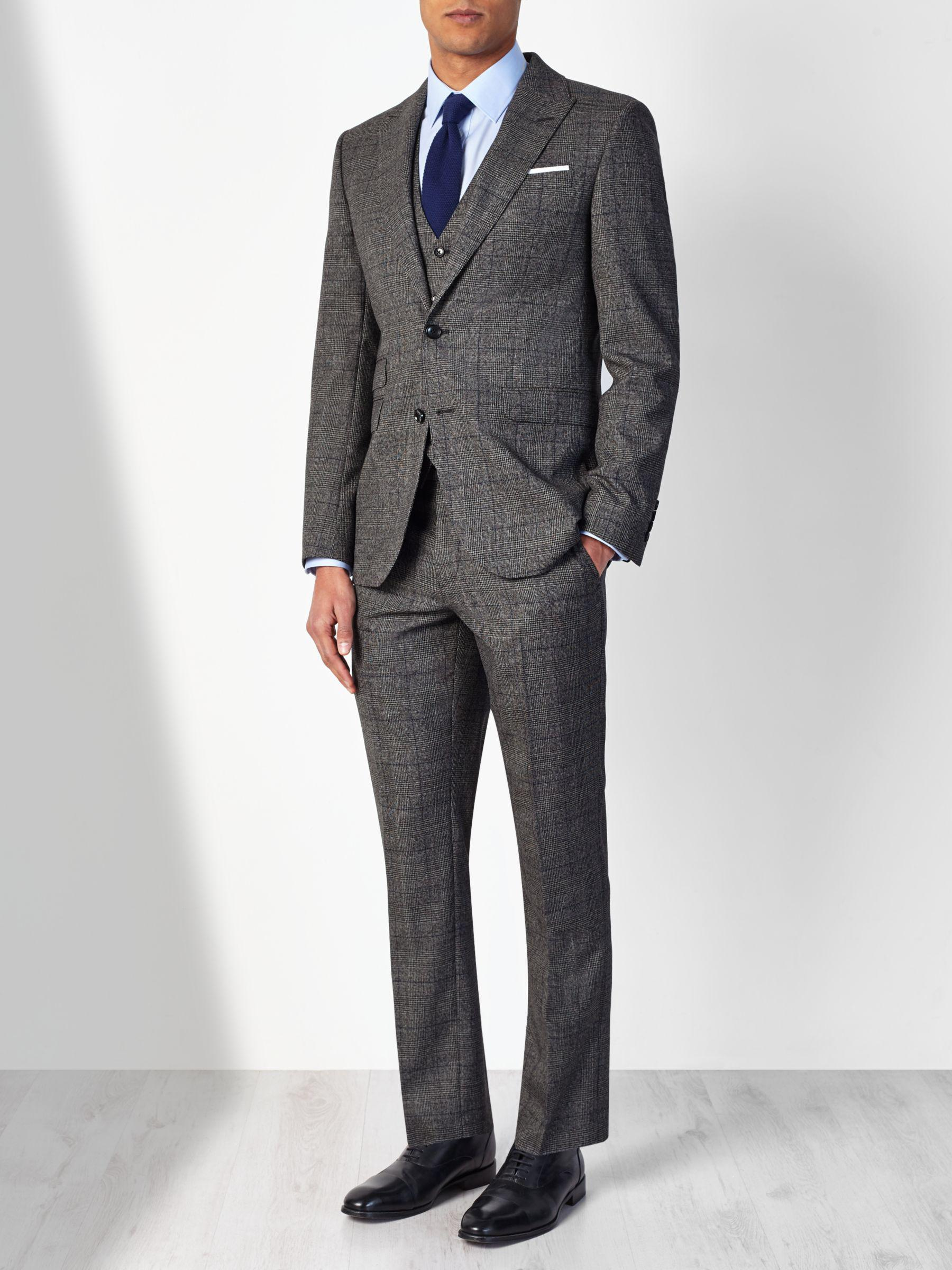 John Lewis Wool Check Tailored Suit Trousers in Charcoal (Grey) for Men