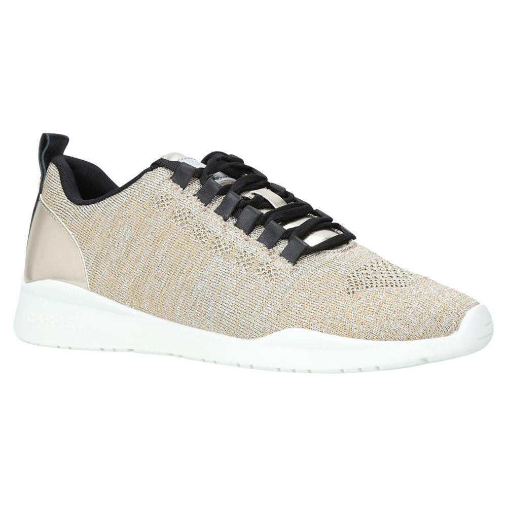 Carvela Kurt Geiger Leather Gold 'lit' Knit Low Top Trainers in Metallic