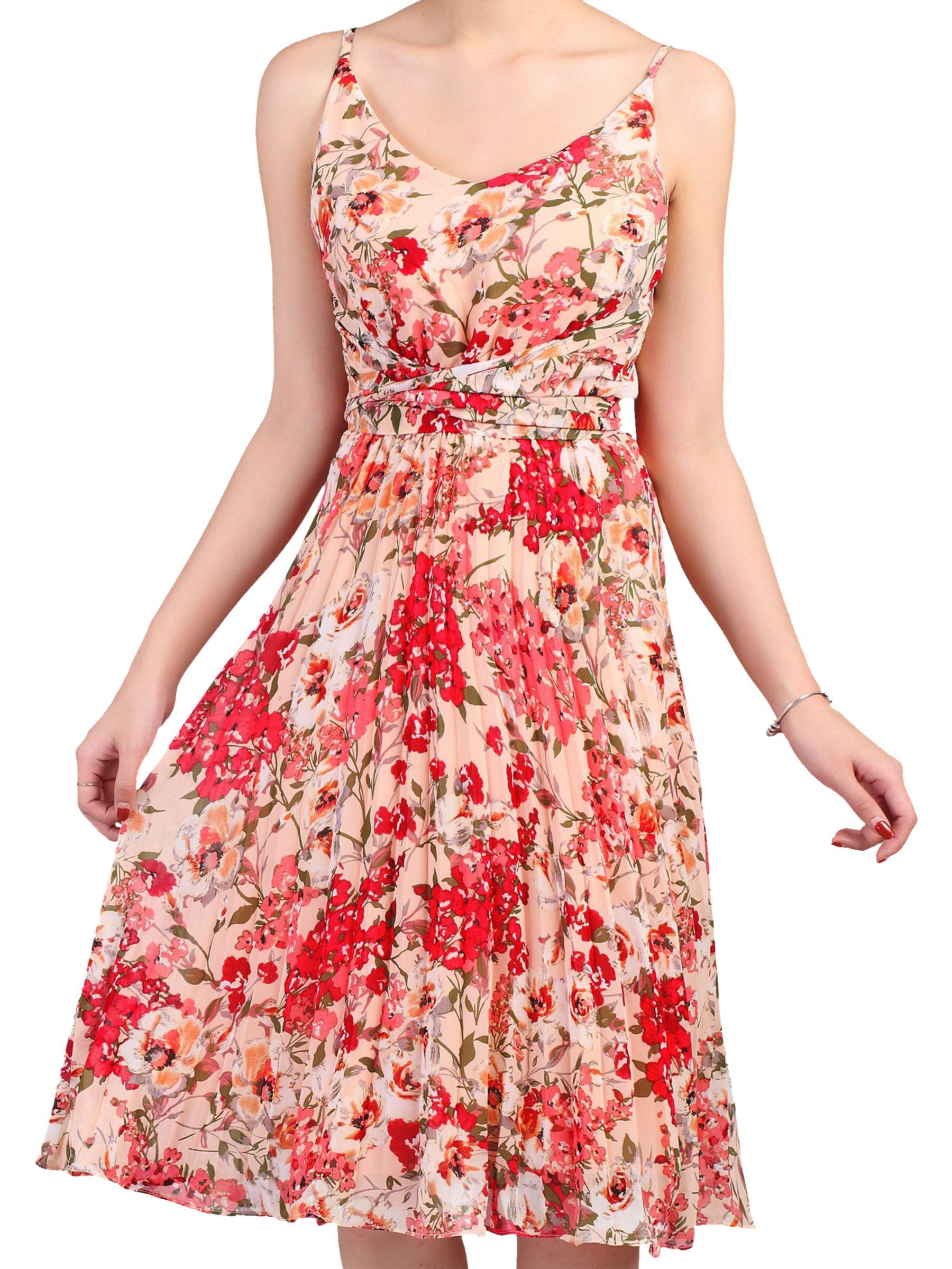 9c09fc5283c7 Jolie Moi Floral Pleated Dress in Pink - Lyst